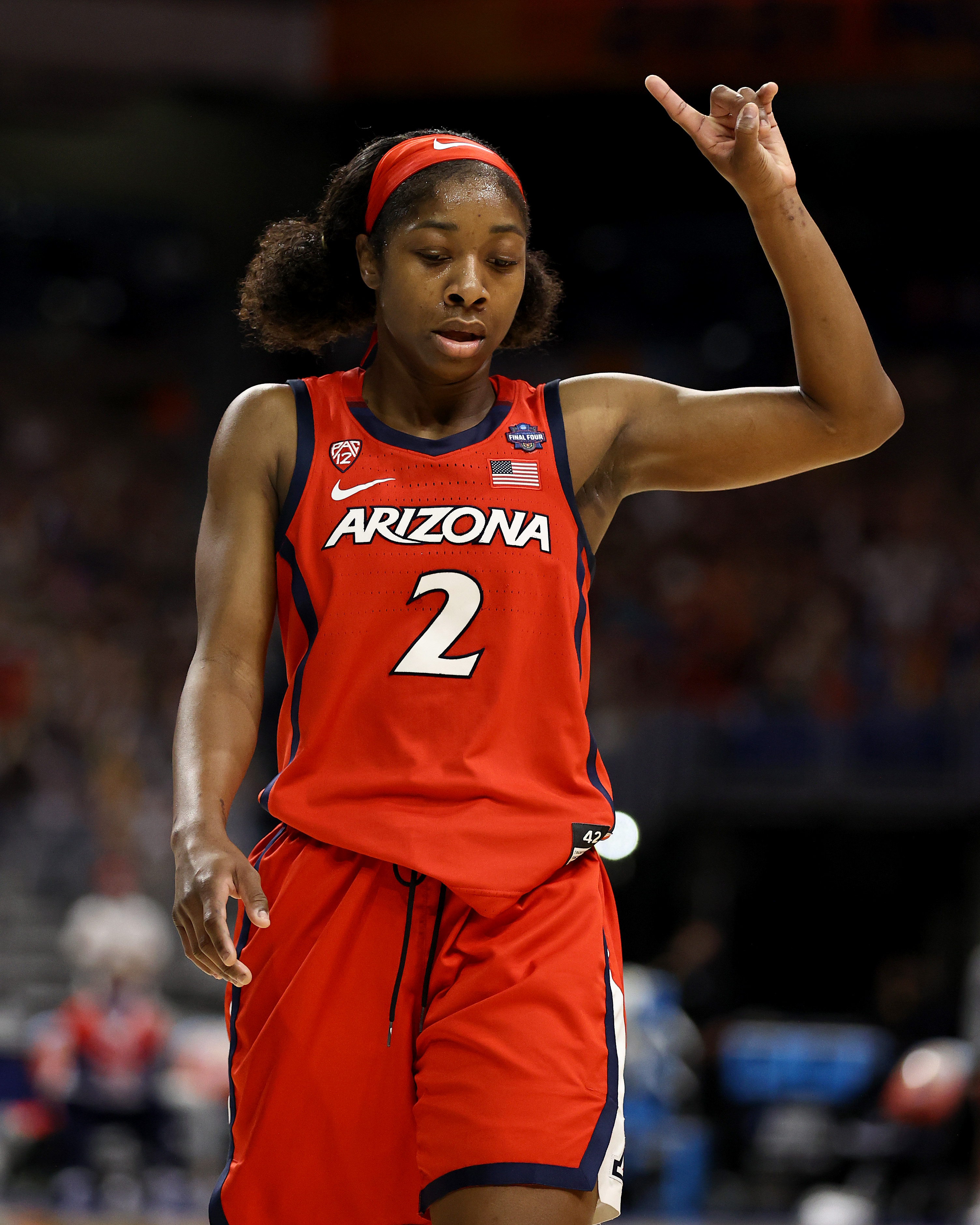 Aari McDonald of the Arizona Wildcats acknowledges her foul during the National Championship game of the 2021 NCAA Women's Basketball Tournament at the Alamodome on April 04, 2021 in San Antonio, Texas. The Stanford Cardinal defeated the Arizona Wildcats 54-53 to win the national title.