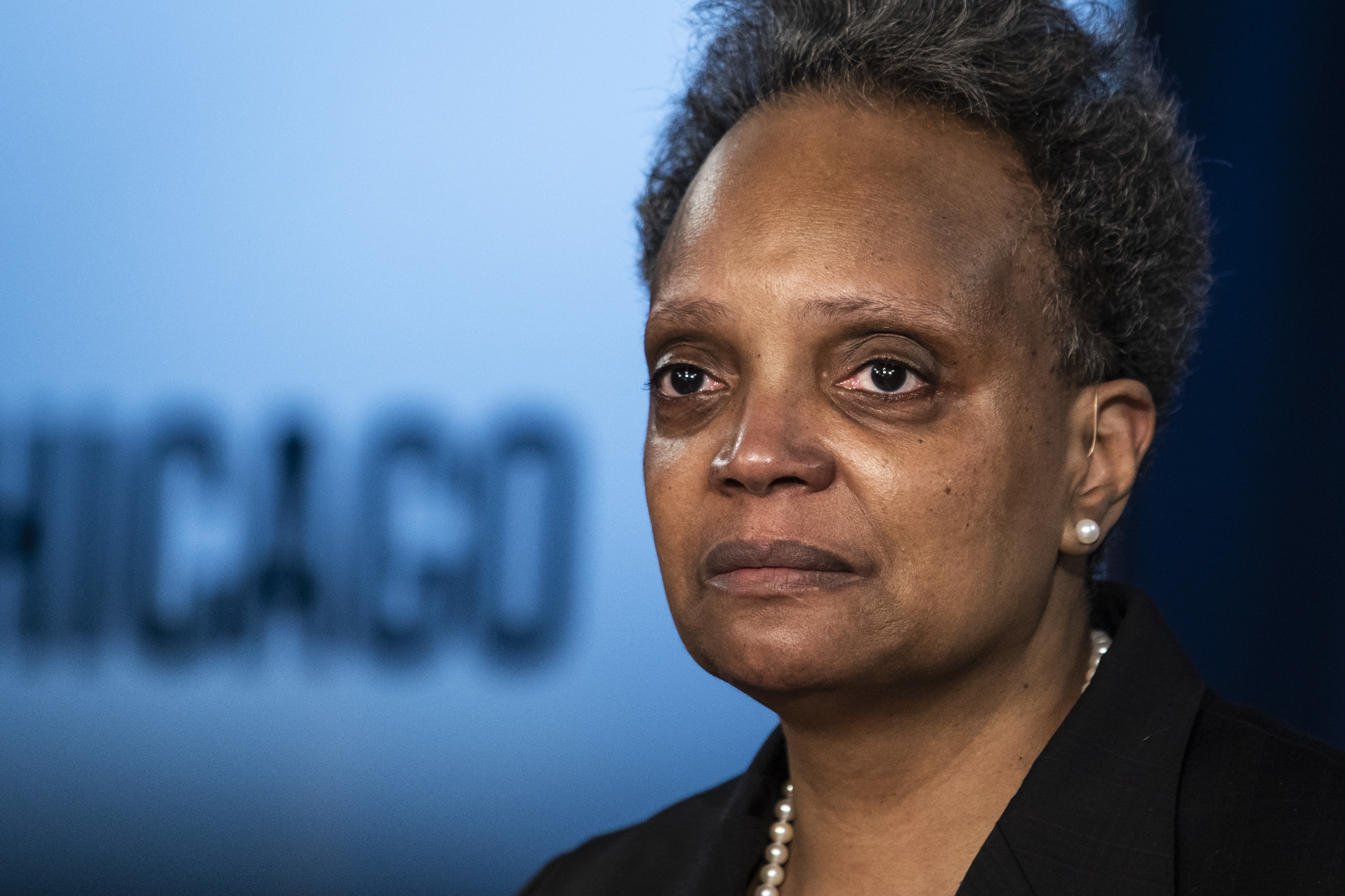 Mayor Lori Lightfoot discusses the videos of 13-year-old Adam Toledo, who was fatally shot by a Chicago police officer, during a news conference at City Hall, Thursday, April 15, 2021.