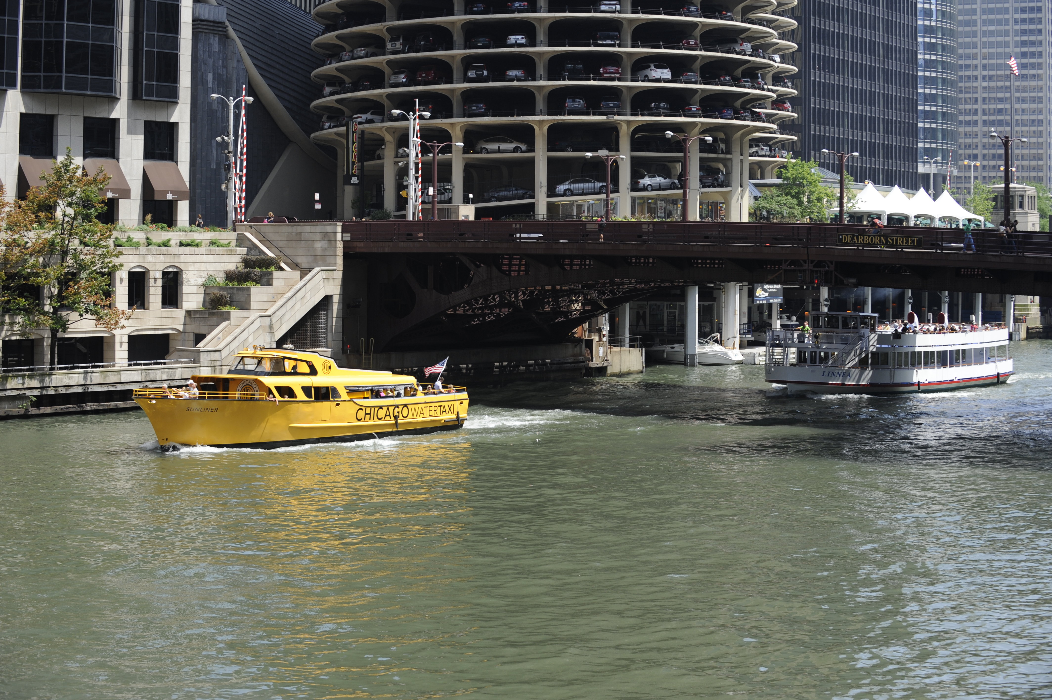 A water taxi is seen on the Chicago River near Clark and LaSalle Streets on Friday, July 29, 2011.