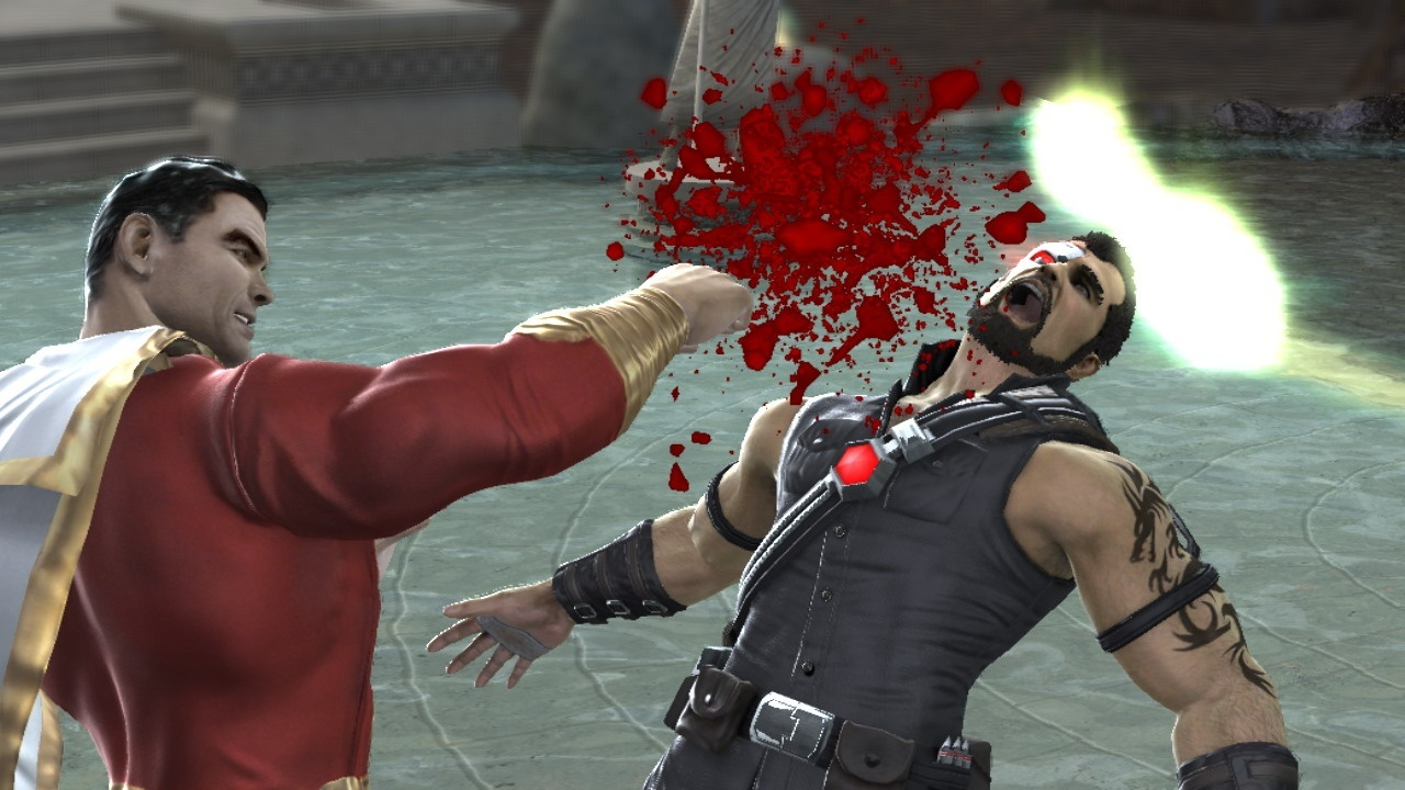 Shazam punches a poor soul in Mortal Kombat vs. DC Universe