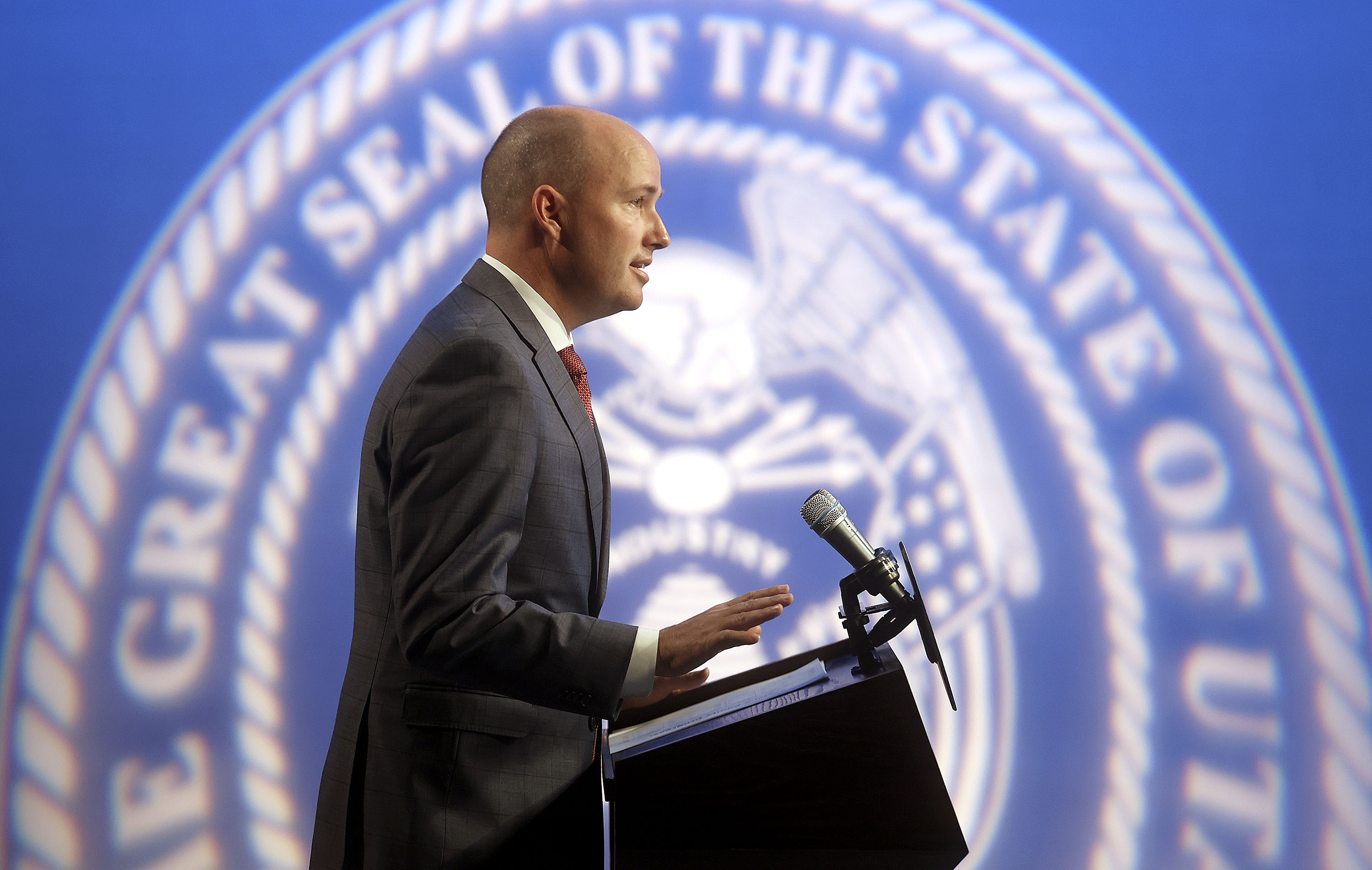 Gov. Spencer Cox speaks during the PBS Utah Governor's Monthly News Conference at the Eccles Broadcast Center in Salt Lake City on Thursday, April 15, 2021.