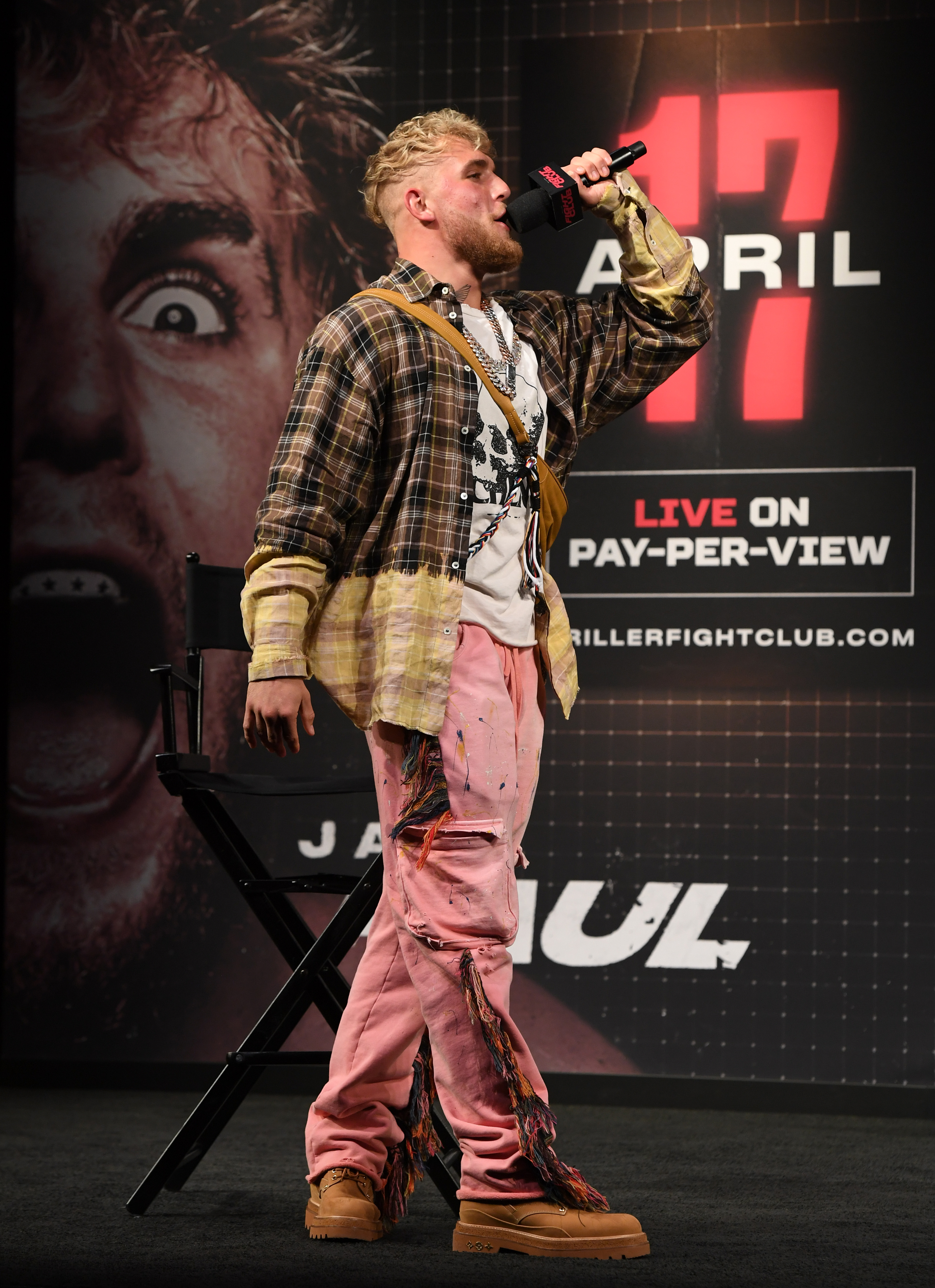 Jake Paul goads Ben Askren at the press conference for their PPV boxing event.