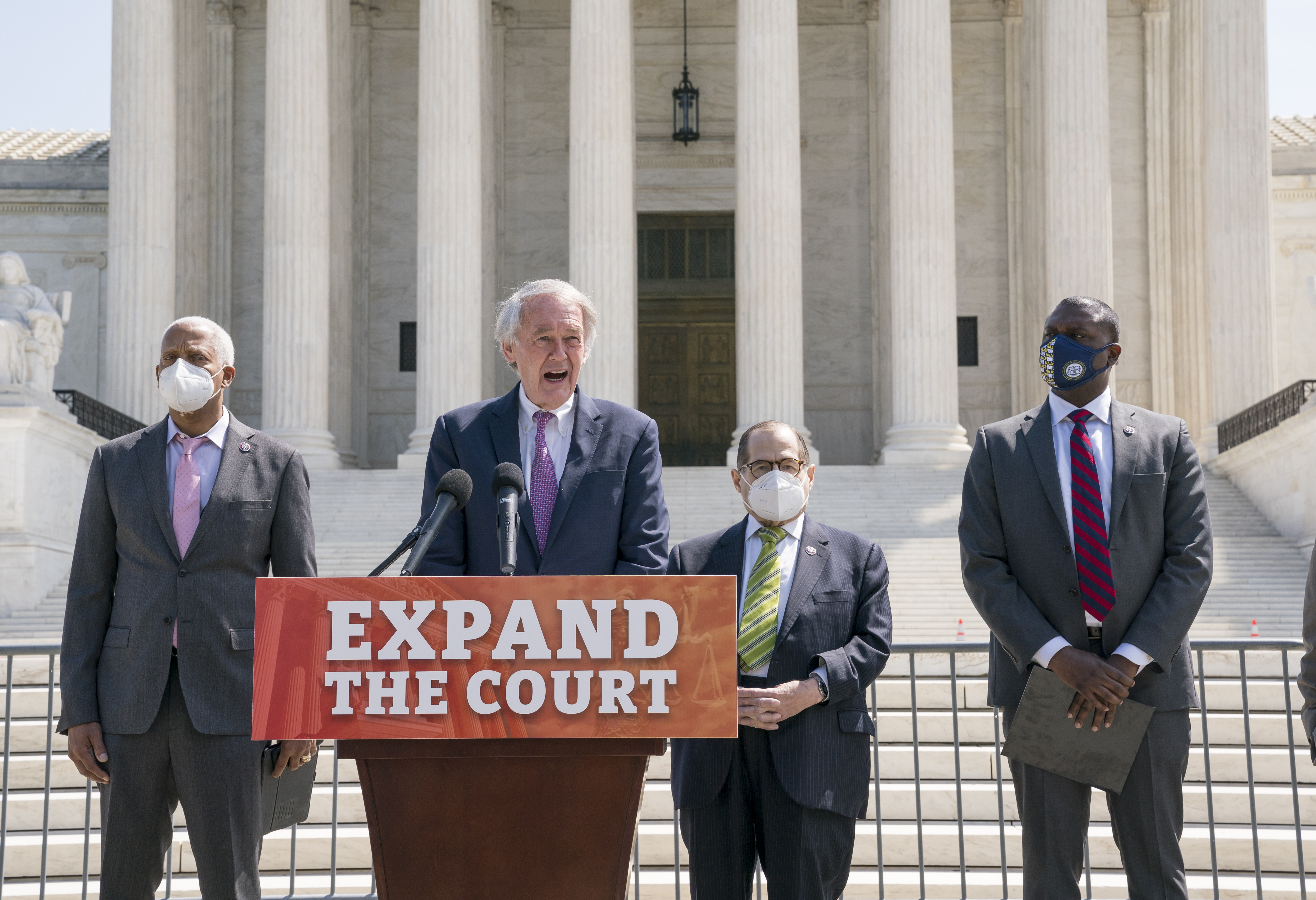From left, Rep. Hank Johnson, D-Ga., Sen. Ed Markey, D-Mass., House Judiciary Committee Chairman Jerrold Nadler, D-N.Y., and Rep. Mondaire Jones, D-N.Y., hold a news conference outside the Supreme Court to announce legislation to expand the number of seats on the high court, on Capitol Hill in Washington, Thursday, April 15, 2021.