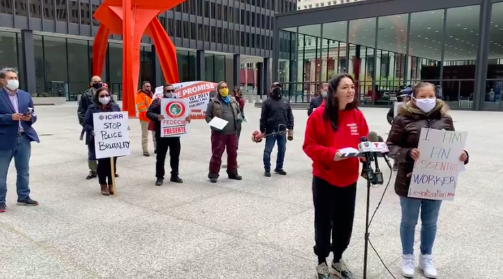Immigration activists Tanya Lozano and Elvira Arellano were at Federal Plaza in the Loop Thursday, April 15 to announce plans for a May 1 rally that will start at Union Park and end at the plaza.