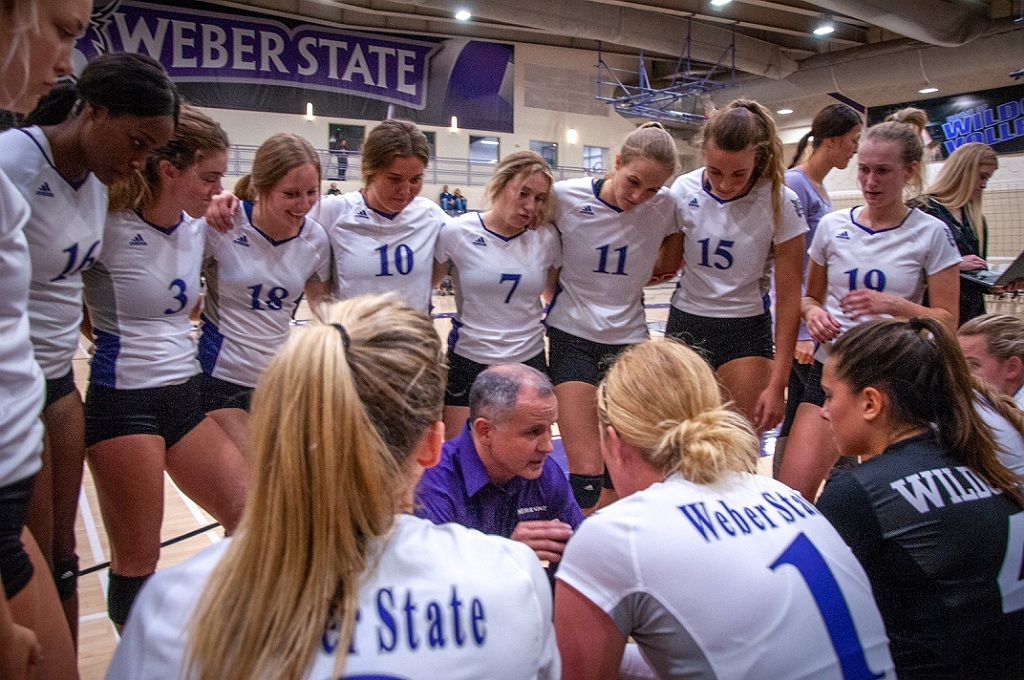 Weber State volleyball coach Jeremiah Larsen, shown here in a 2018 photo provided by Weber State, saw his team lose 3-0 to No. 1 seed Wisconsin on Thursday, April 15, 2021 in Omaha, Nebraska, at the NCAA Women's Volleyball Tournament.