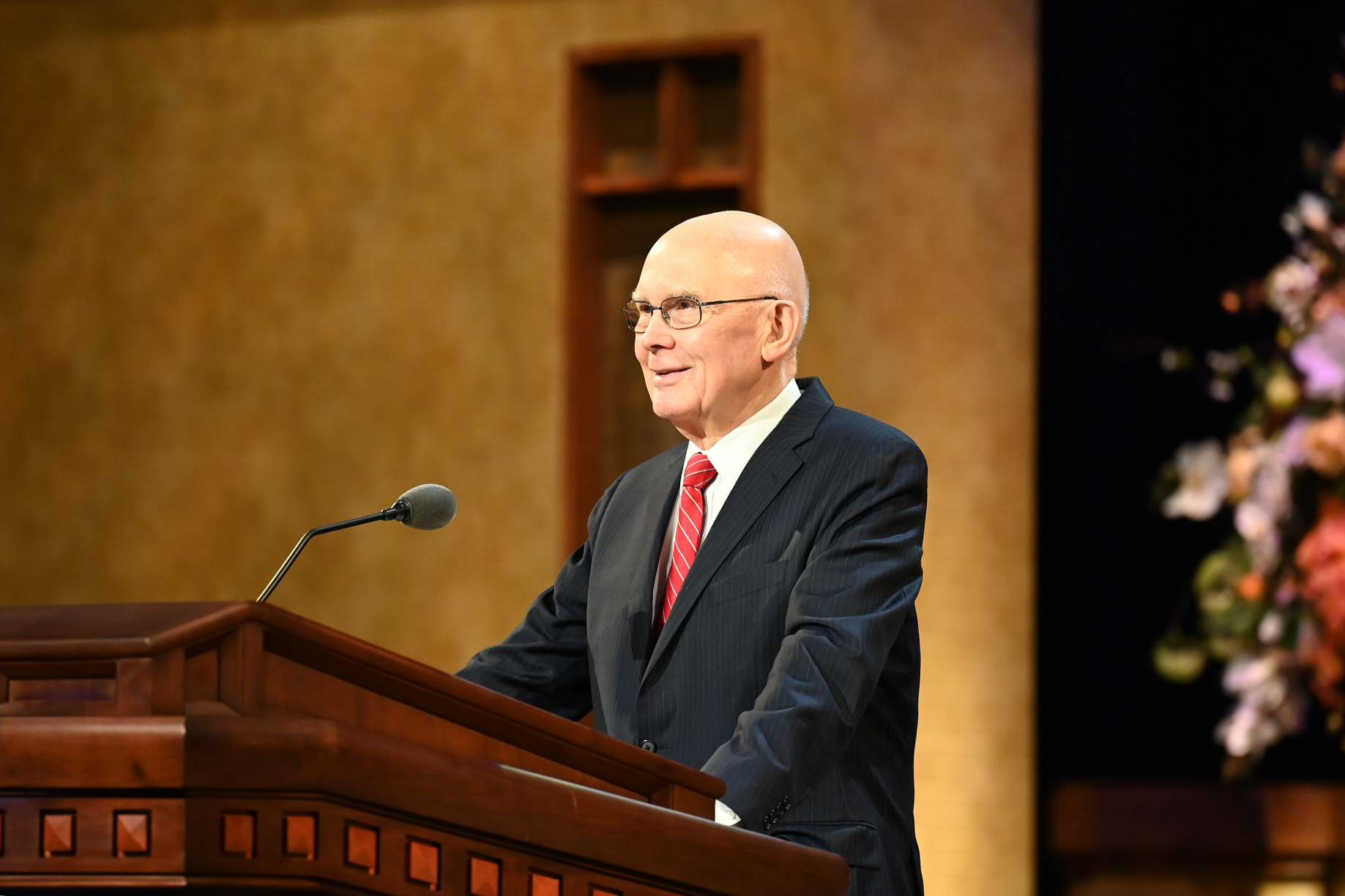 President Dallin H. Oaks, first counselor in the First Presidency, conducts the Sunday morning session of The Church of Jesus Christ of Latter-day Saints' 191st Annual General Conference in Salt Lake City on April 4, 2021.