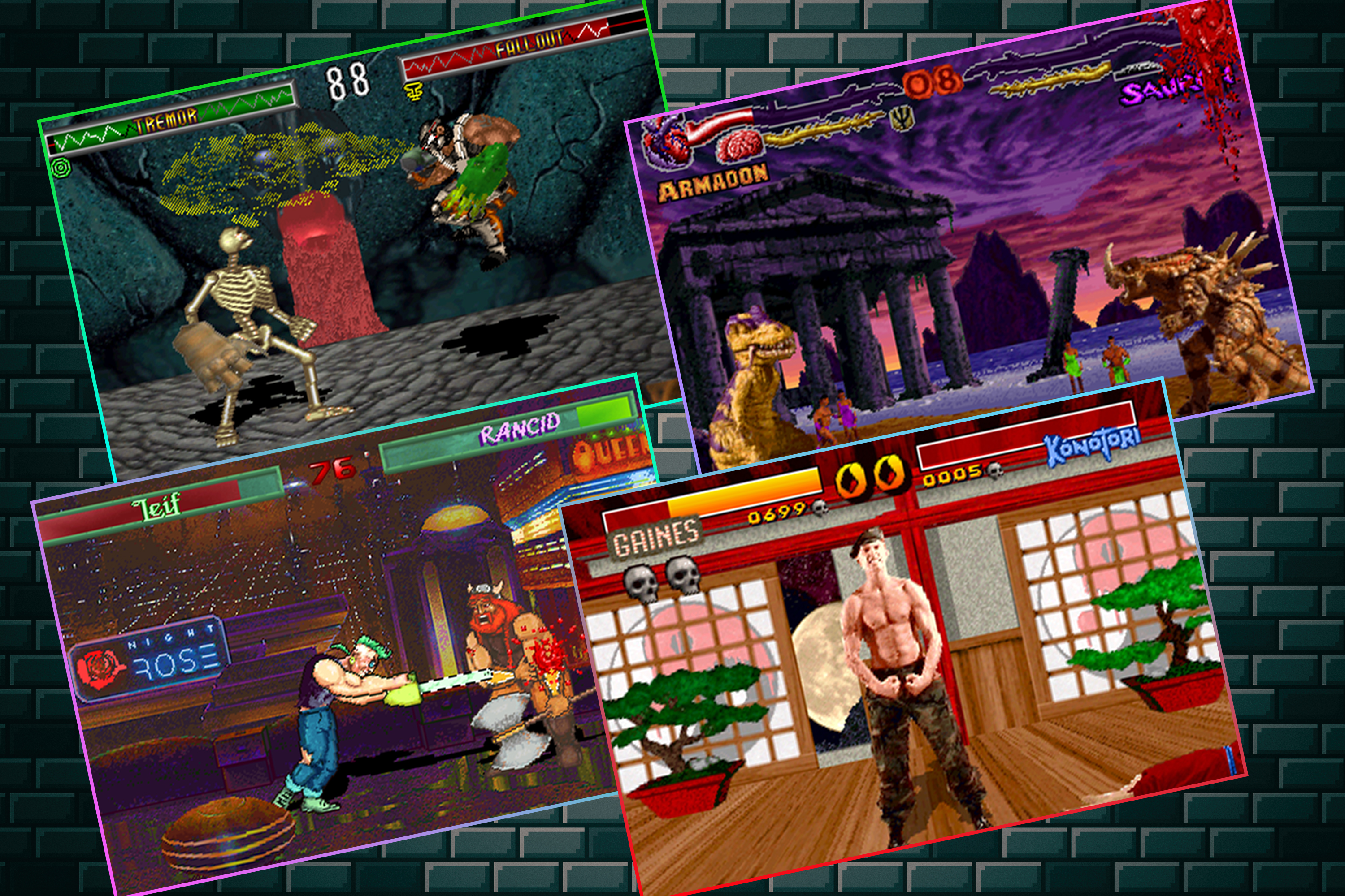 Graphic with four screenshots from various ripoffs of the Mortal Kombat video game