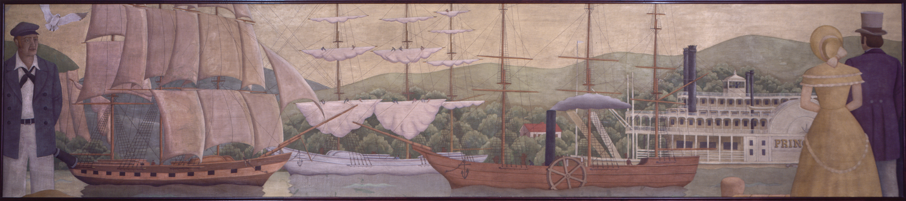 """""""History of Ships"""" by Gustaf Dalstrom, painted in 1936, depicts the history of shipbuilding from the days of sail to early modern steamships."""