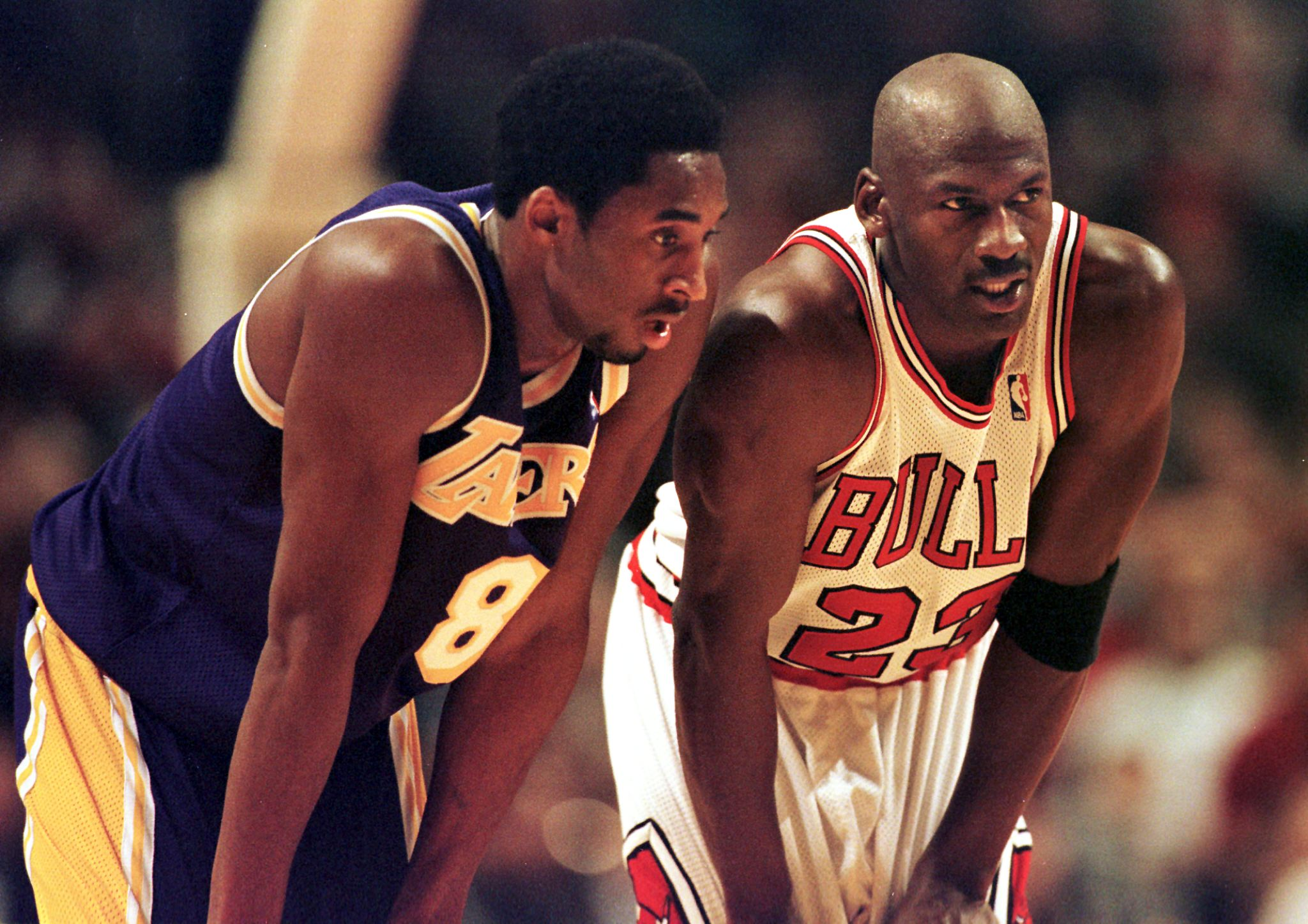 The Lakers' Kobe Bryant (left) patterned his game after the Bulls' Michael Jordan.