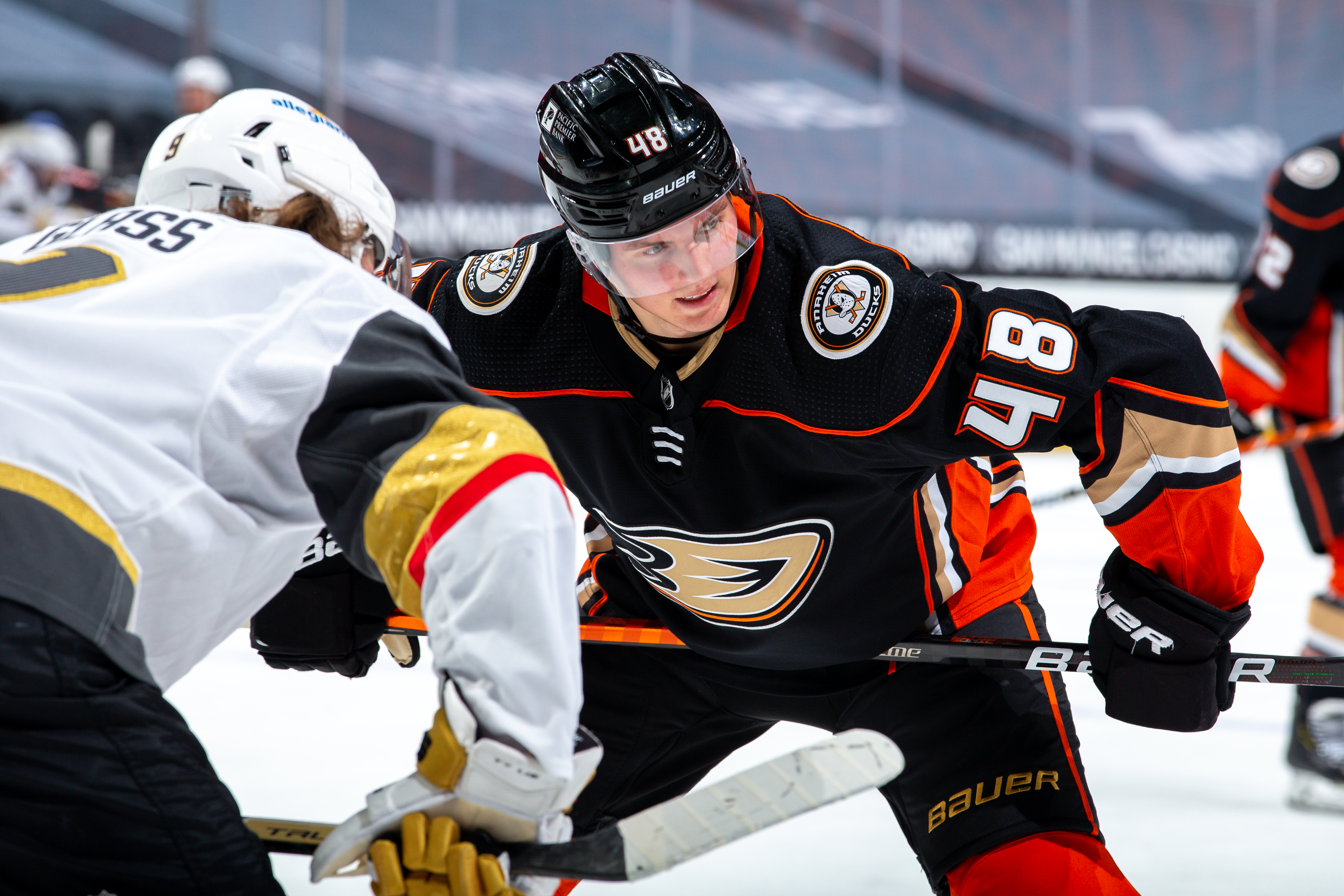 Isac Lundestrom #48 of the Anaheim Ducks waits for a face-off against the Vegas Golden Knights during the second period of the game at Honda Center on February 27, 2021 in Anaheim, California.