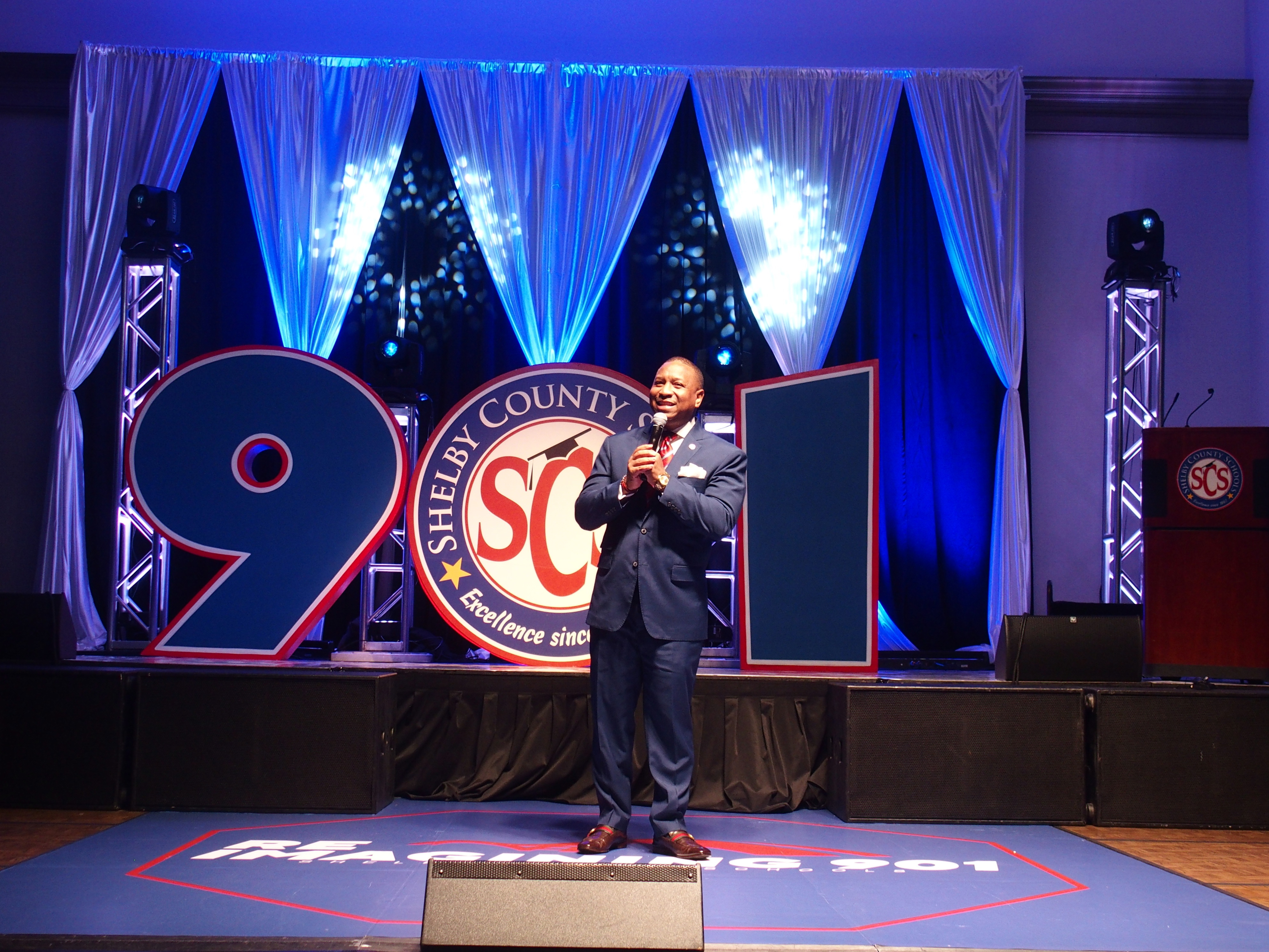 Shelby County Schools Superintendent Joris Ray at the State of the District address on April 16, 2021.
