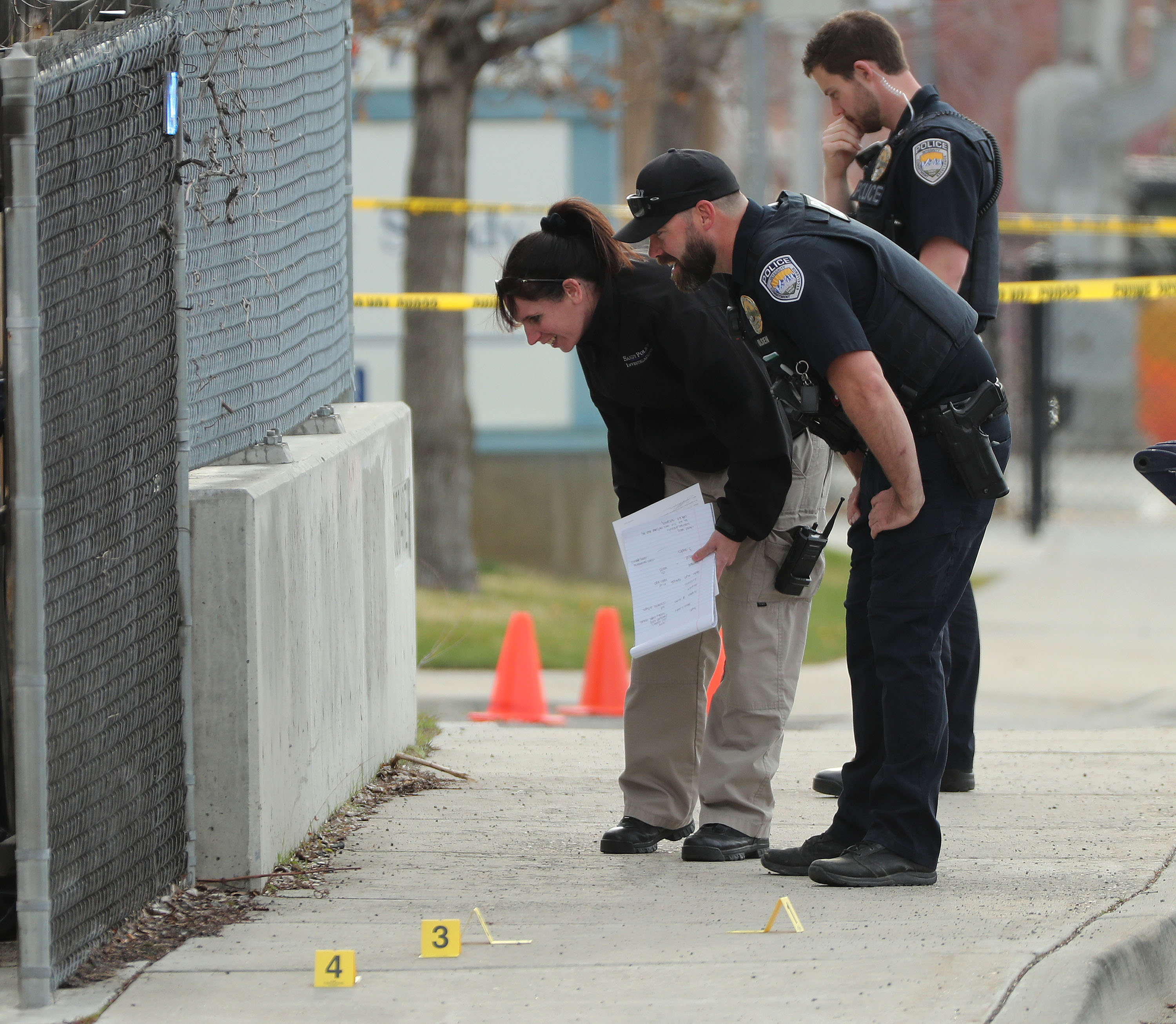 Sandy police investigate a double shooting involving teenagers in Sandy on Friday, April 16, 2021.