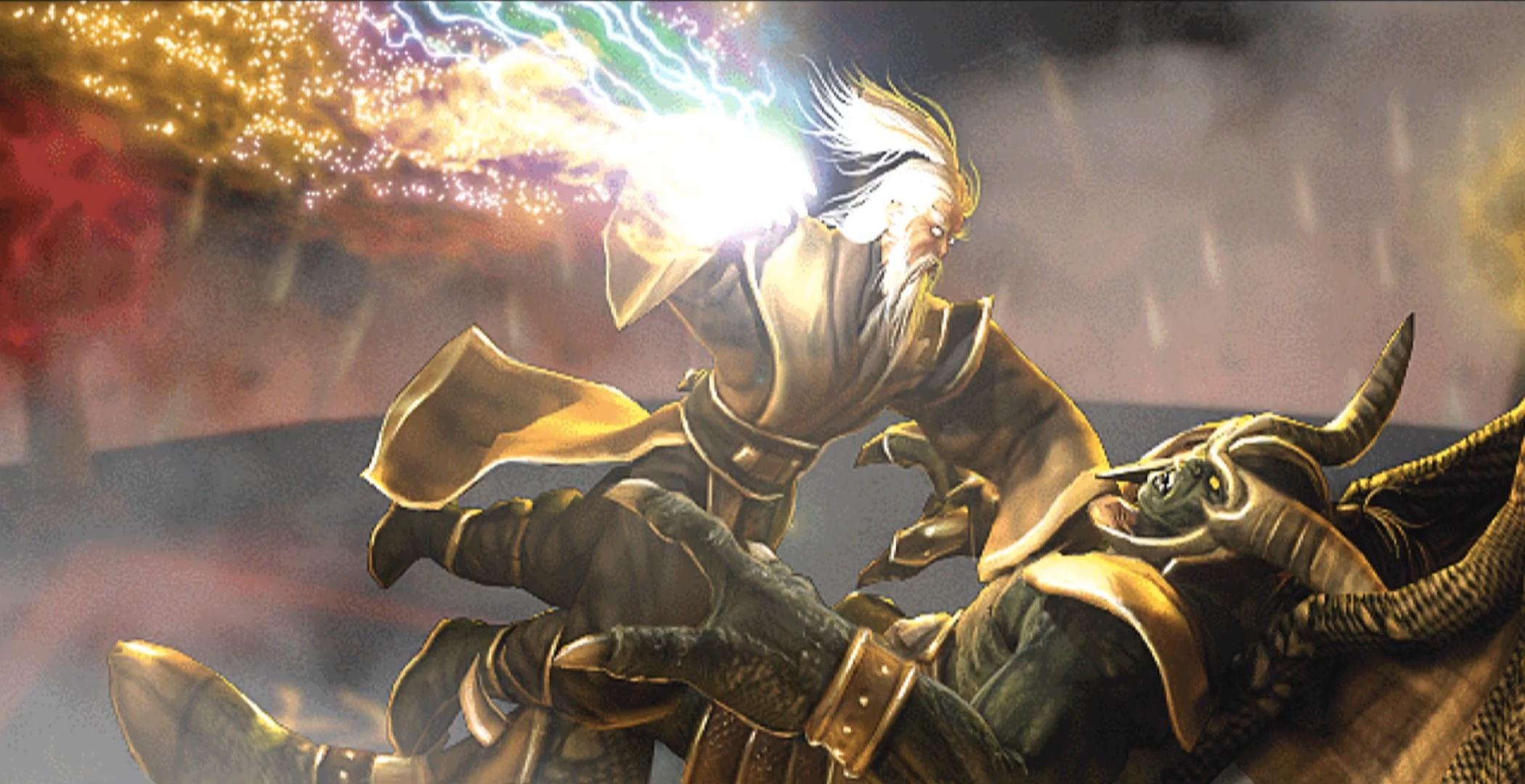 A still of Shujinko attacking Onaga in Mortal Kombat: Deception