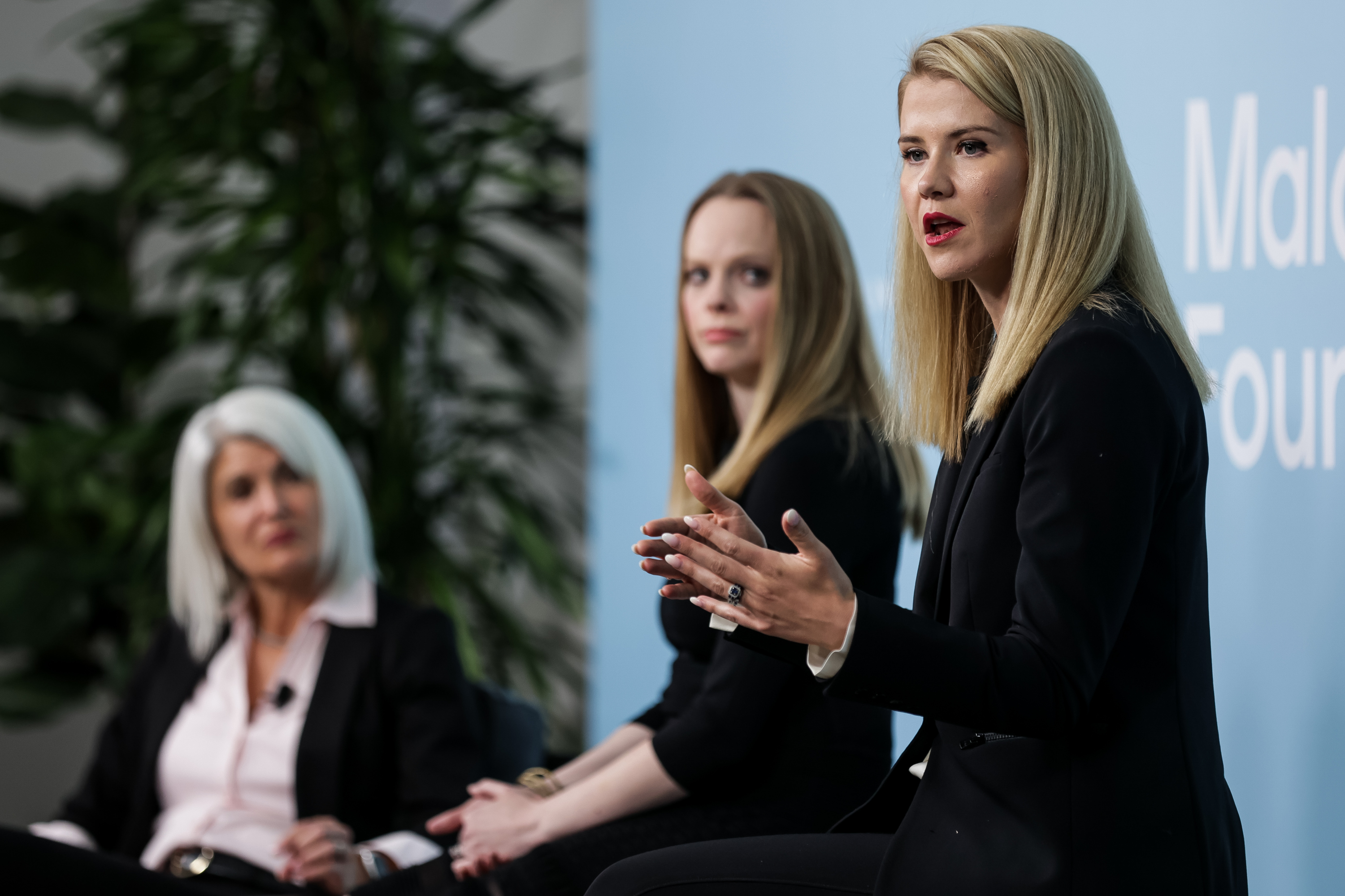 Elizabeth Smart speaks during the Human Trafficking Policy and Education Summit at the Malouf Foundation in Logan on Saturday, April 17, 2021. With smart are Missy Larsen, VP of Philanthropy and Community Impact at doTERRA, and Deondra Brown, co-founder of The Foundation for Survivors of Abuse.