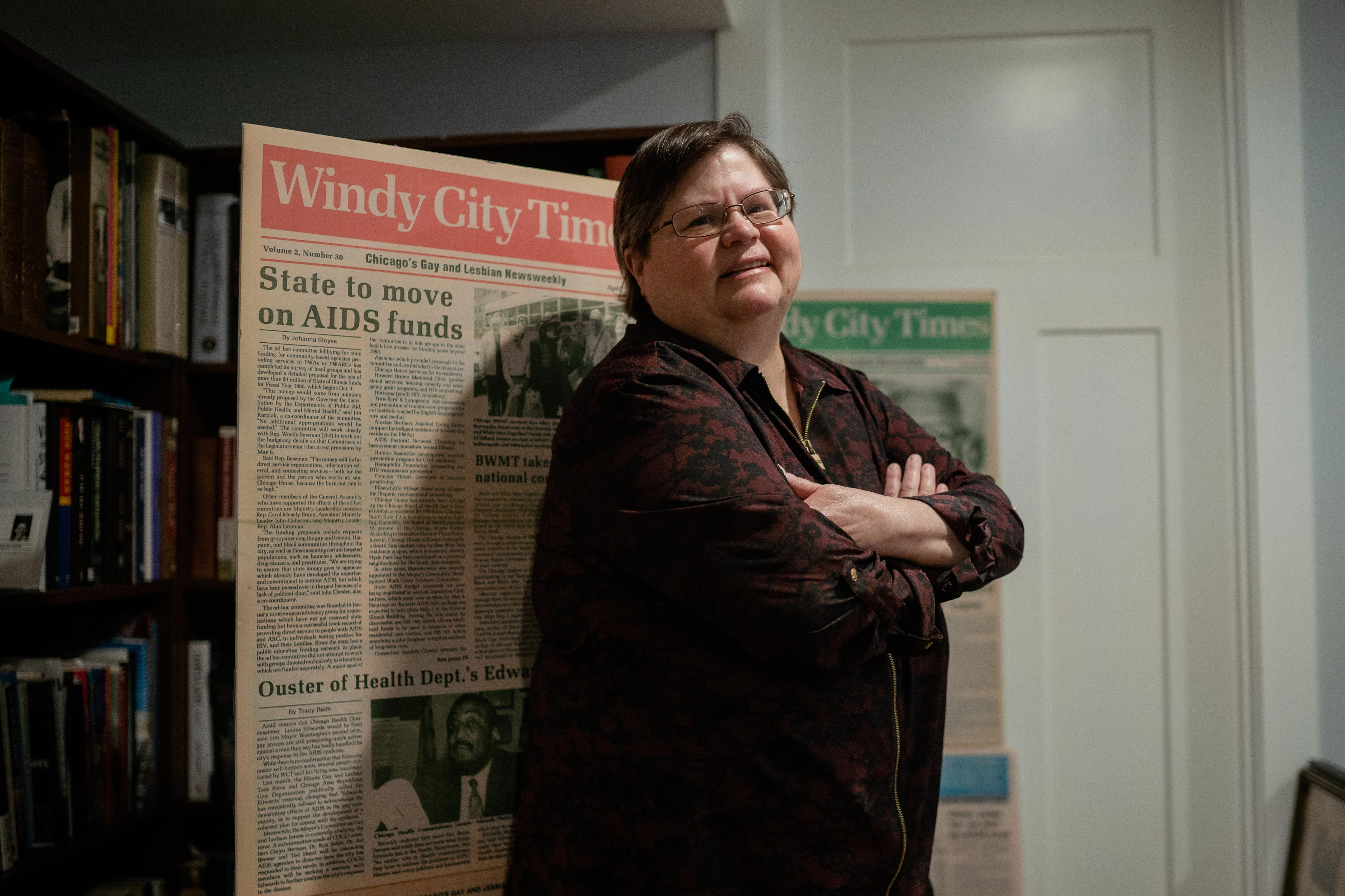 Tracy Baim, co-founder of Windy City Times and co-publisher of Chicago Reader, poses for a picture in her home in the Portage Park neighborhood, Friday morning, April 9, 2021.