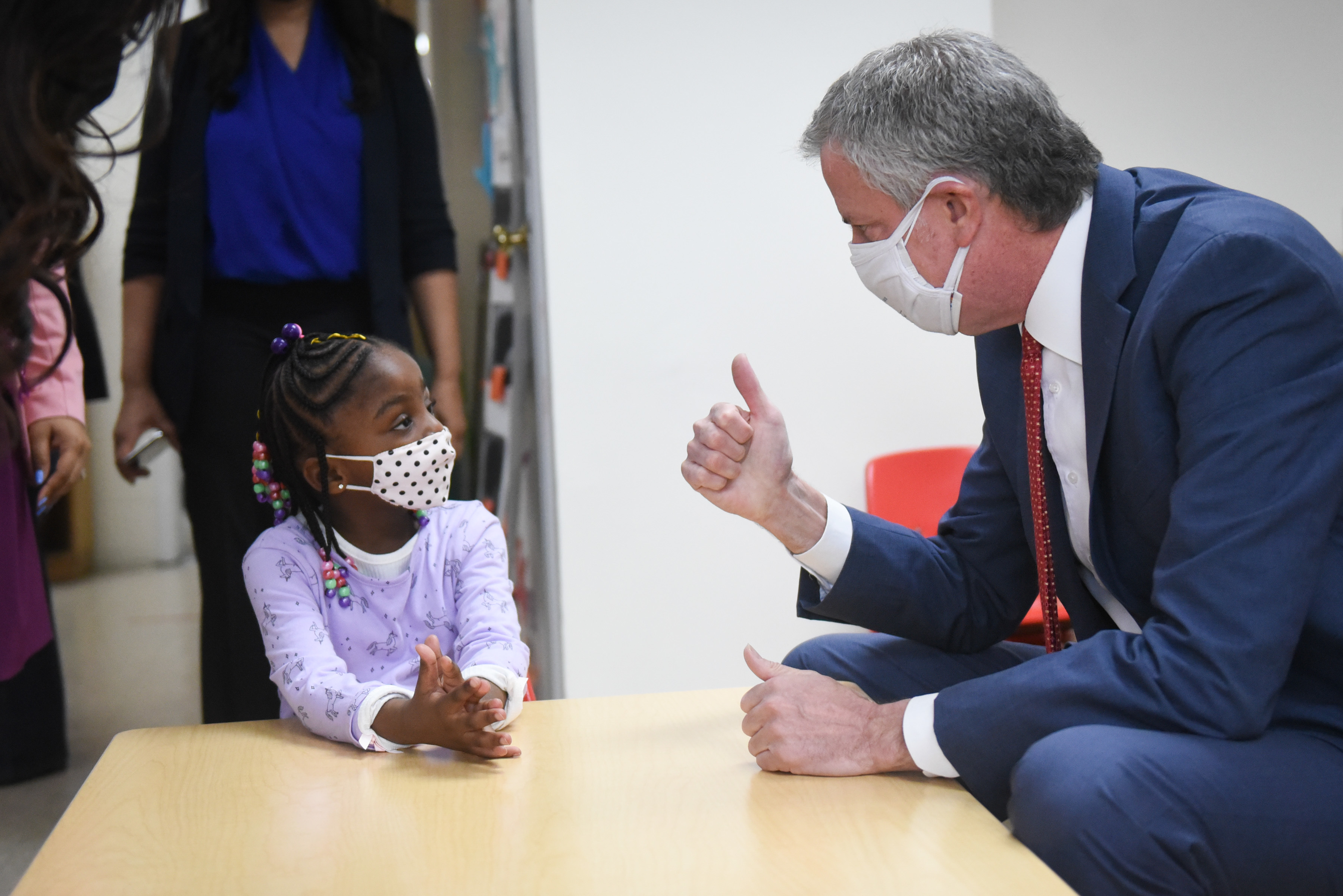 Mayor Bill de Blasio Chancellor Porter will join school leadership at Phyl's Academy in Brooklyn to announce 3K for all and visit Pre-K students in class March 23, 2021. Michael Appleton/Mayoral Photography Office
