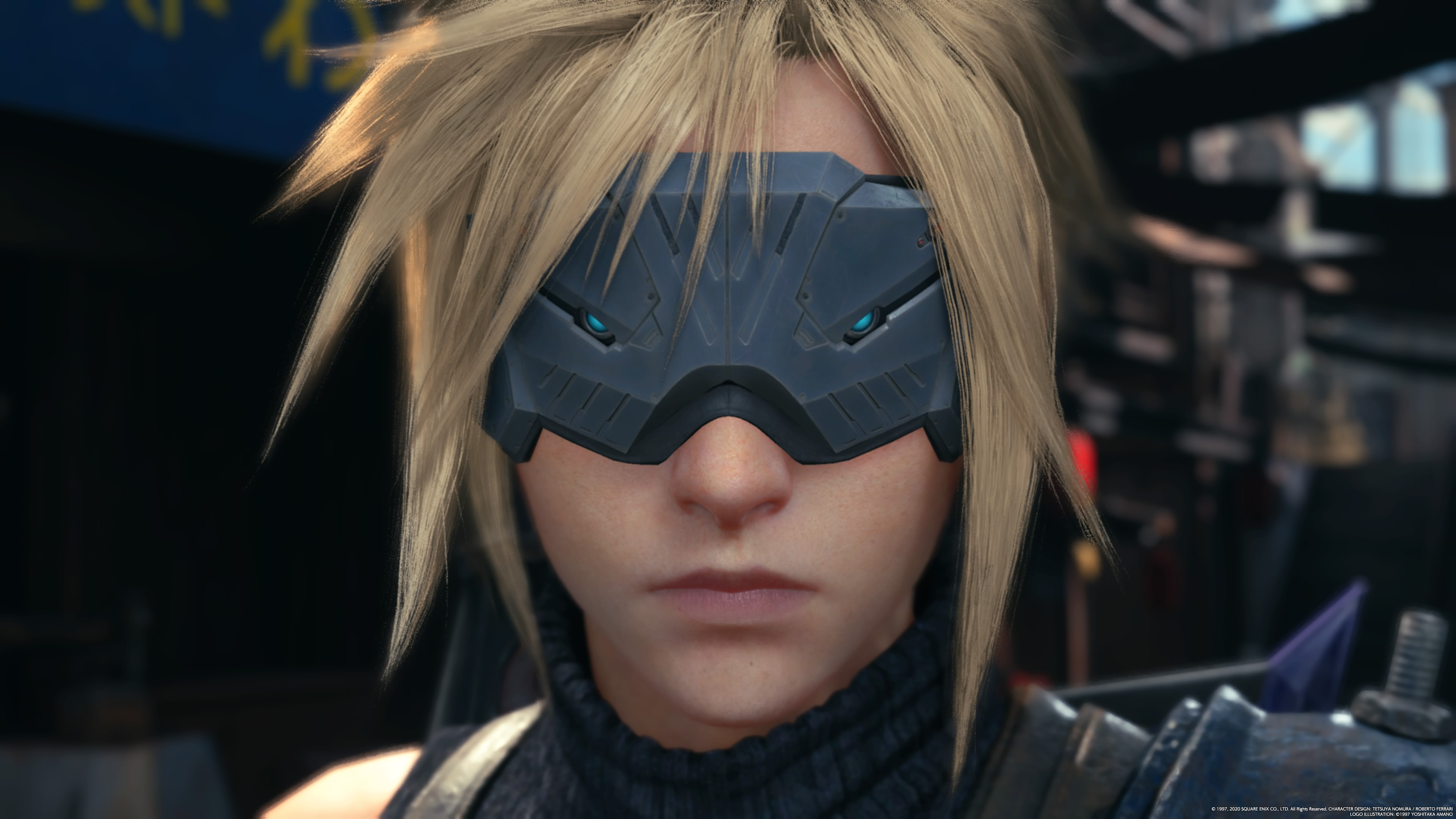 Cloud from the Final Fantasy 7 Remake wearing VR googles