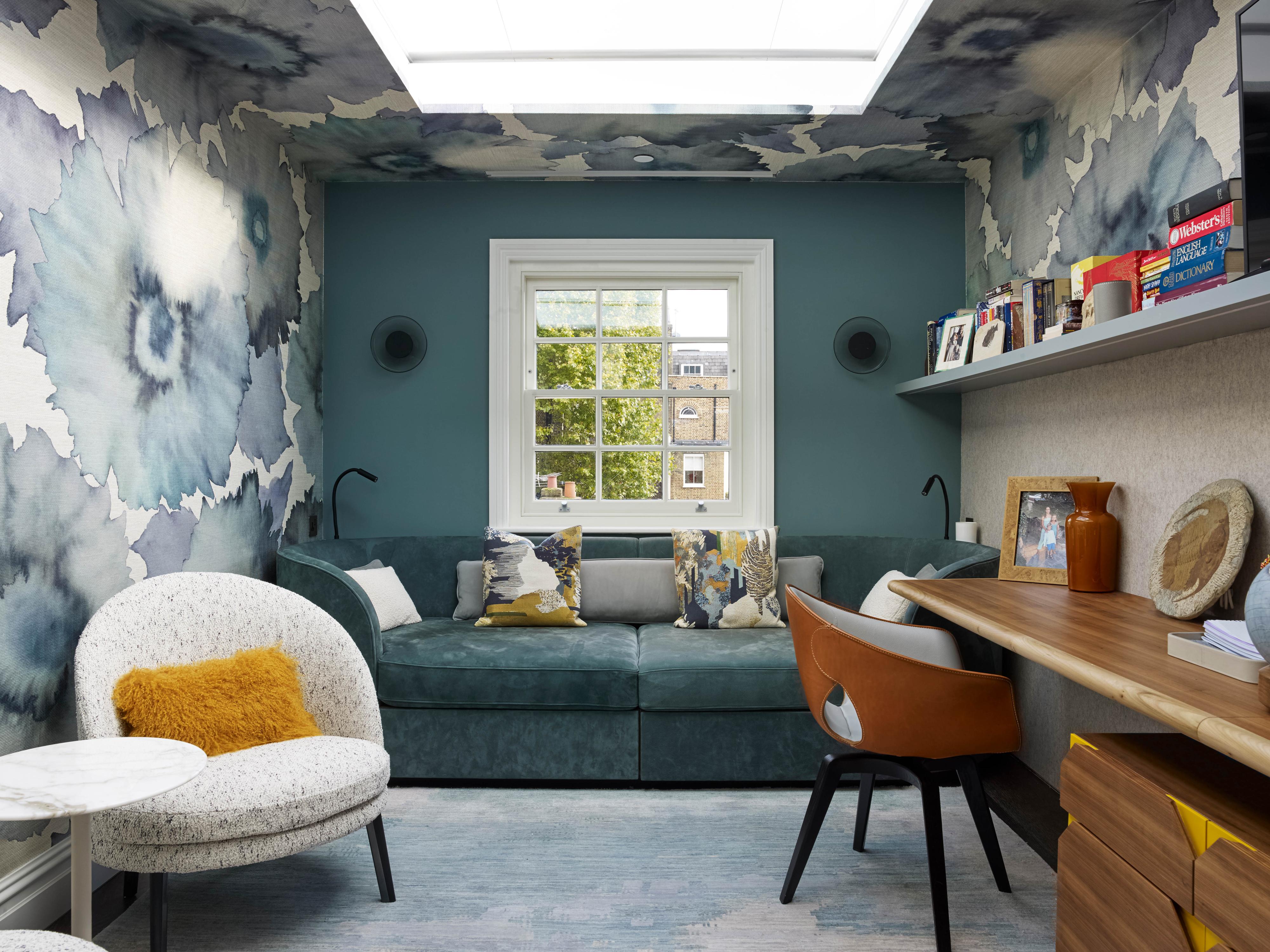 Home Office, Wall Mounted Shelves, Floating Desk, Bold Wallpaper