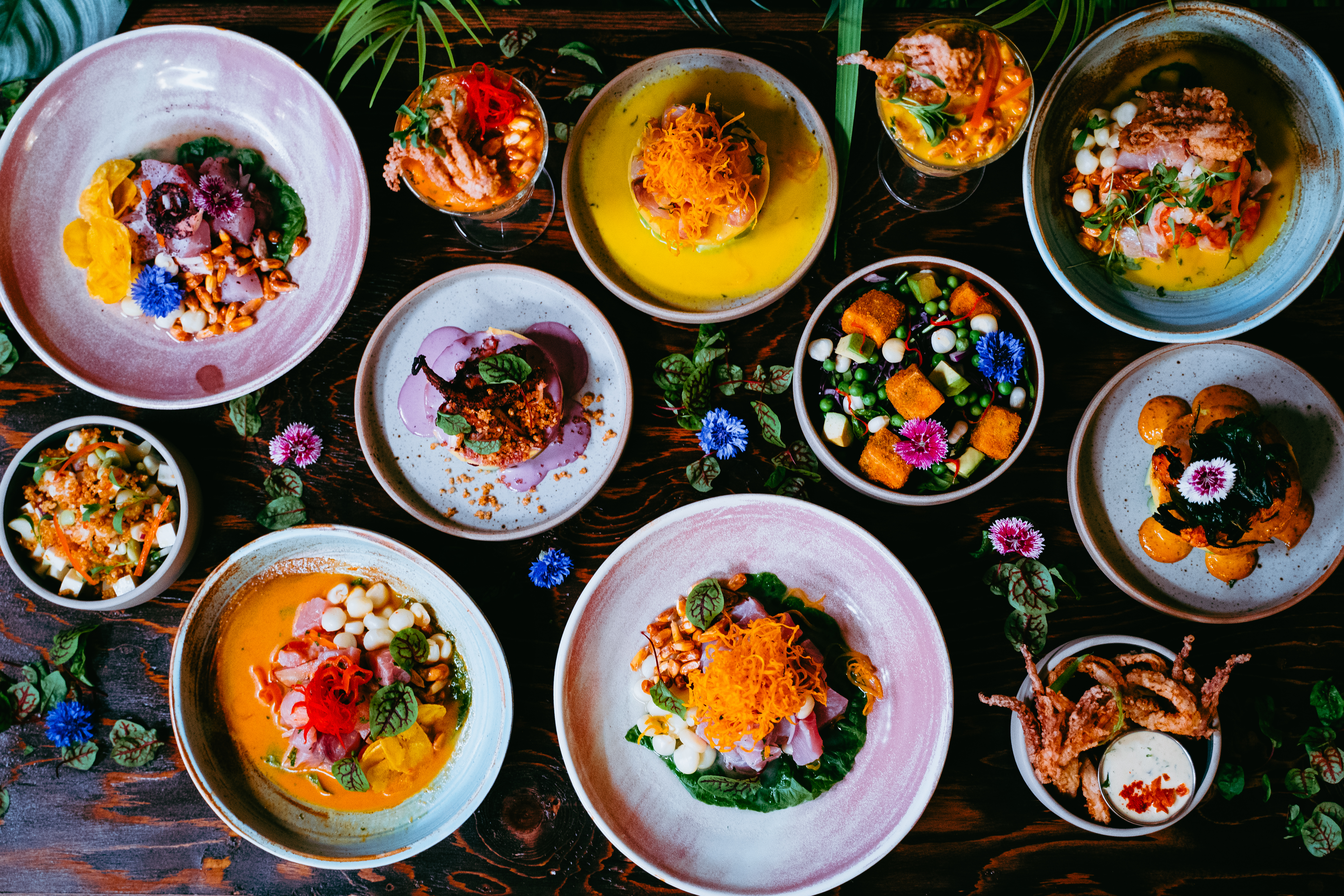 a spread of 12 dishes
