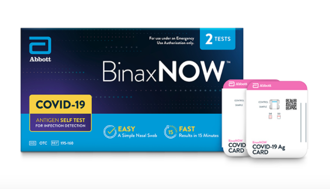 Abbott Laboratories' BinaxNOW coronavirus self-test kits will will cost $23.99, the company said.