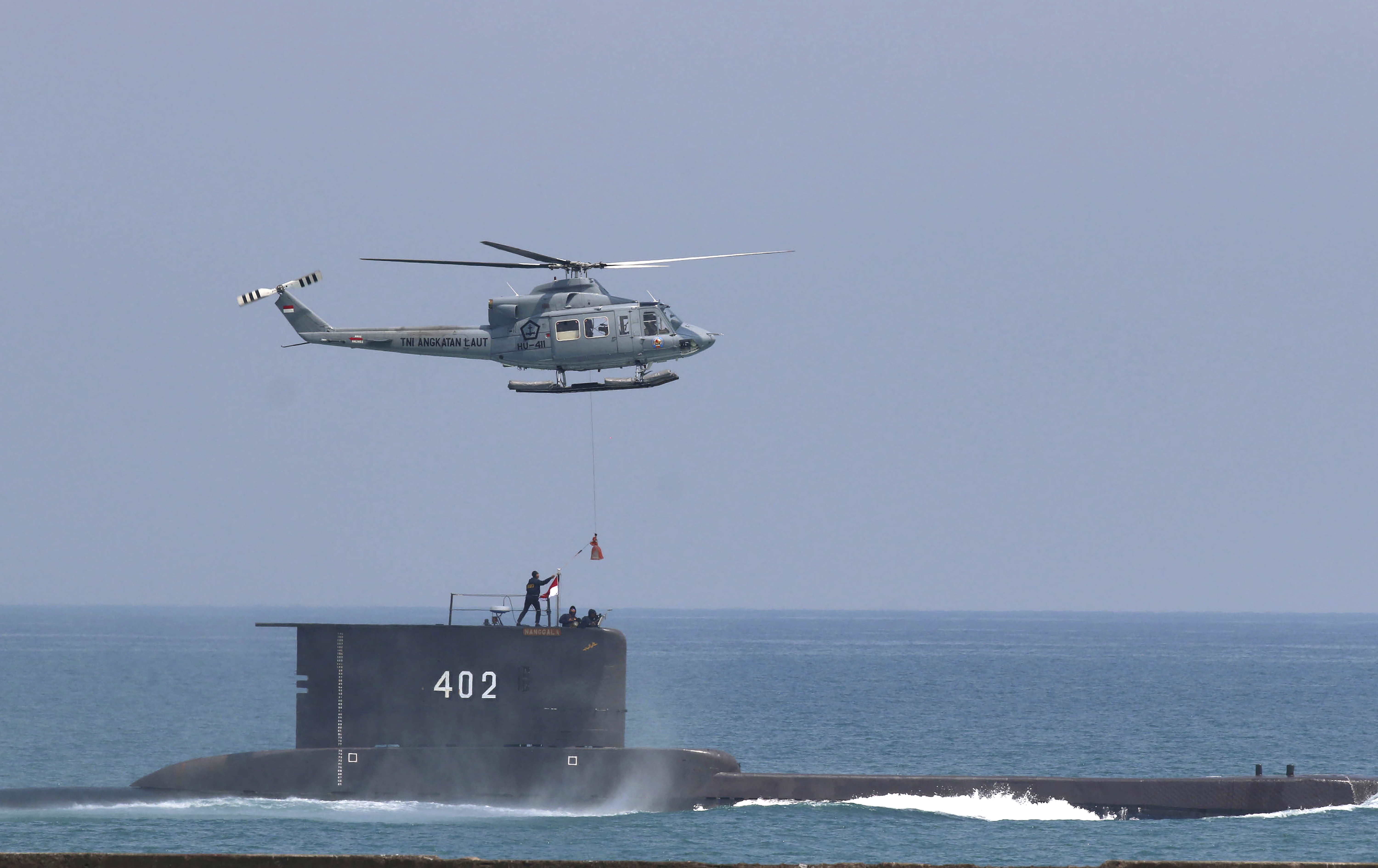 The Indonesian Navy submarine KRI Nanggala takes part in a drill off Cilegon, Indonesia, in this Tuesday, Oct. 3, 2017 photo.