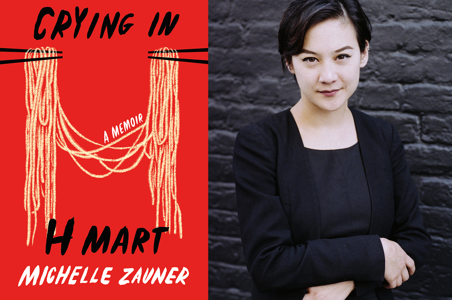 The book cover for Crying in H Mart and a photo of a woman, Michelle Zauner, with her arms crossed