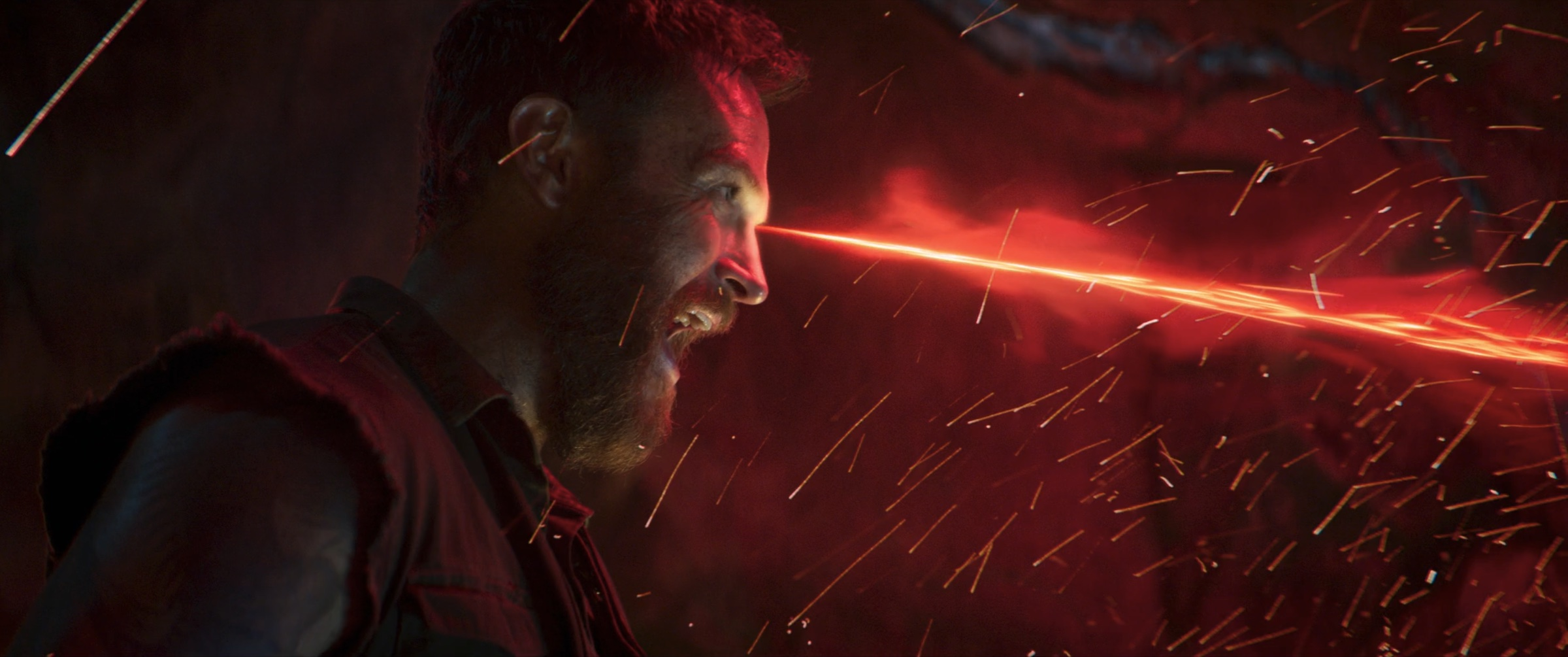 Kano fires a red energy beam from his eye in Mortal Kombat (2021)
