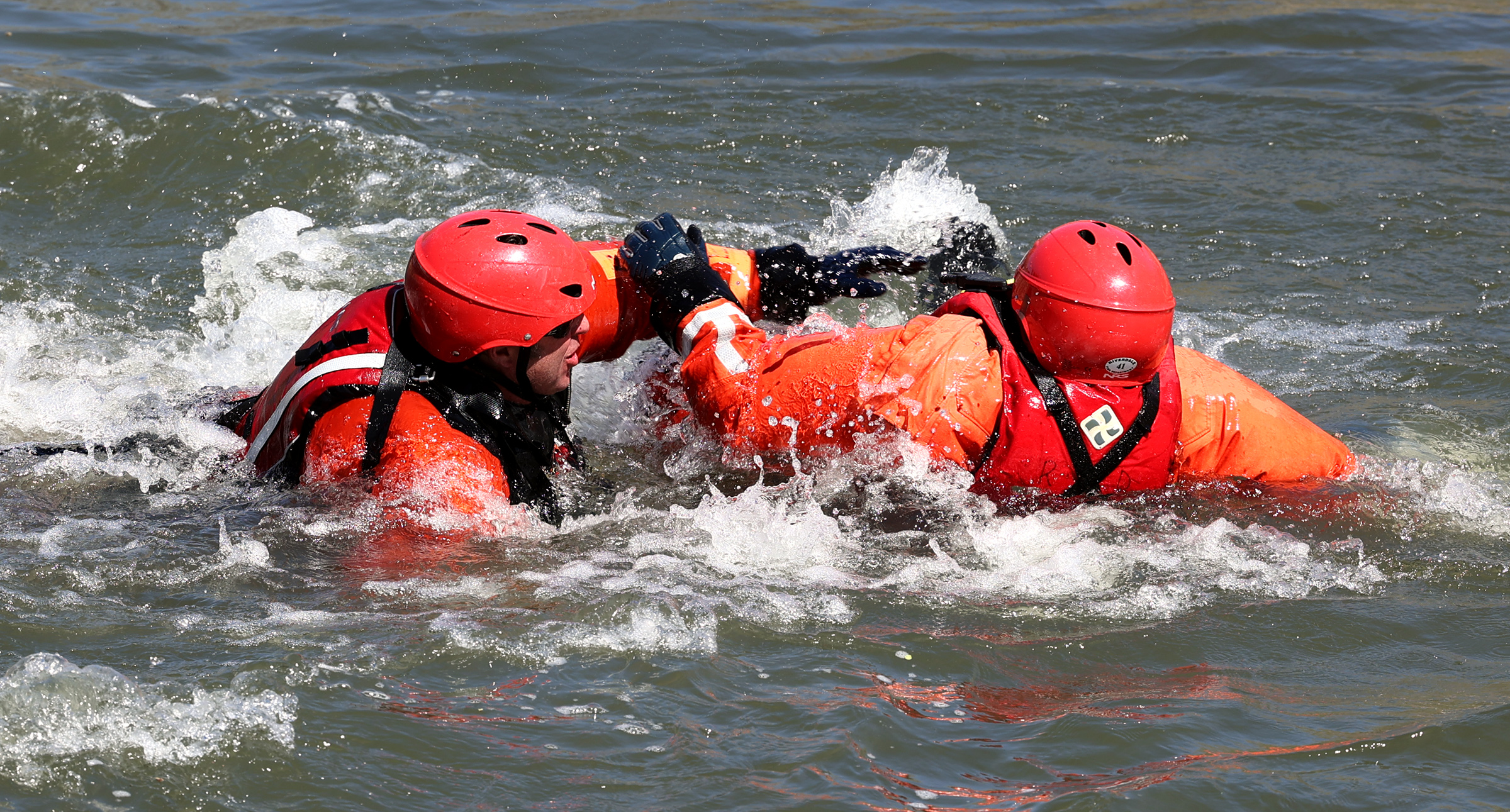 Members of the Weber Fire District participate in swift-water training at Fort Buenaventura Park in Ogden on Tuesday, April 20, 2021. They will be training over the next few days.