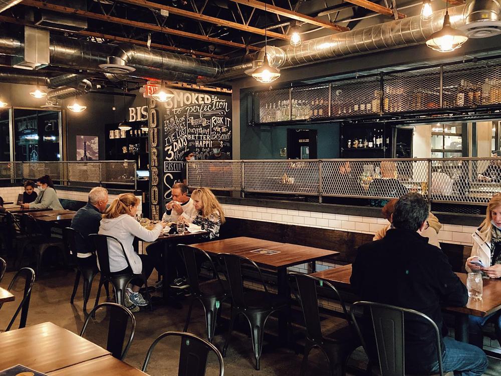 "Interior of Henderson's self-described ""boutique"" barbecue restaurant, Biscuits & Bourbon."