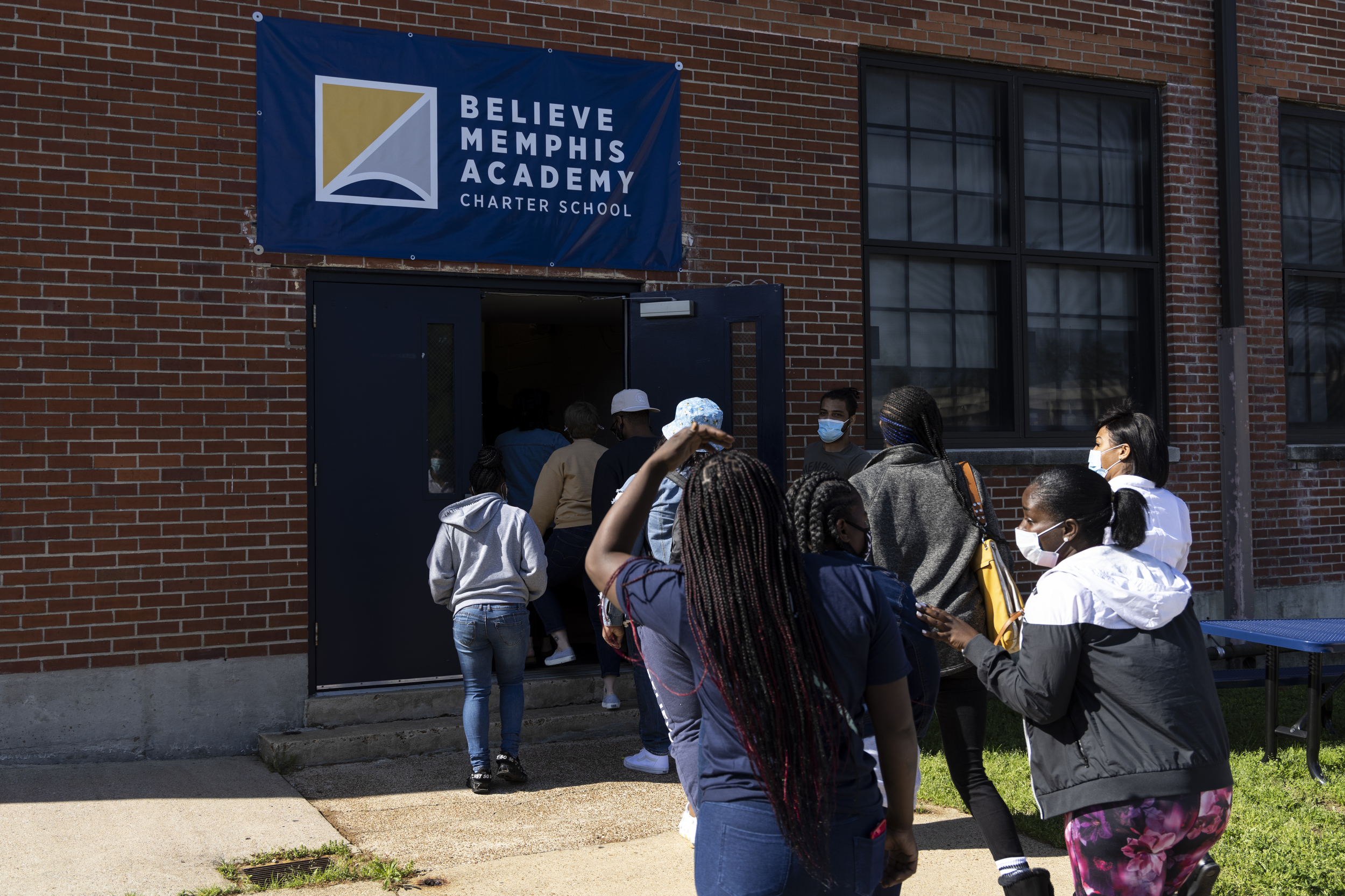 MEMPHIS, TN - April 15, 2021: The Believe Memphis Academy's Badger Postal Service program delivers meals and school supplies to the students of Believe Memphis Academy.