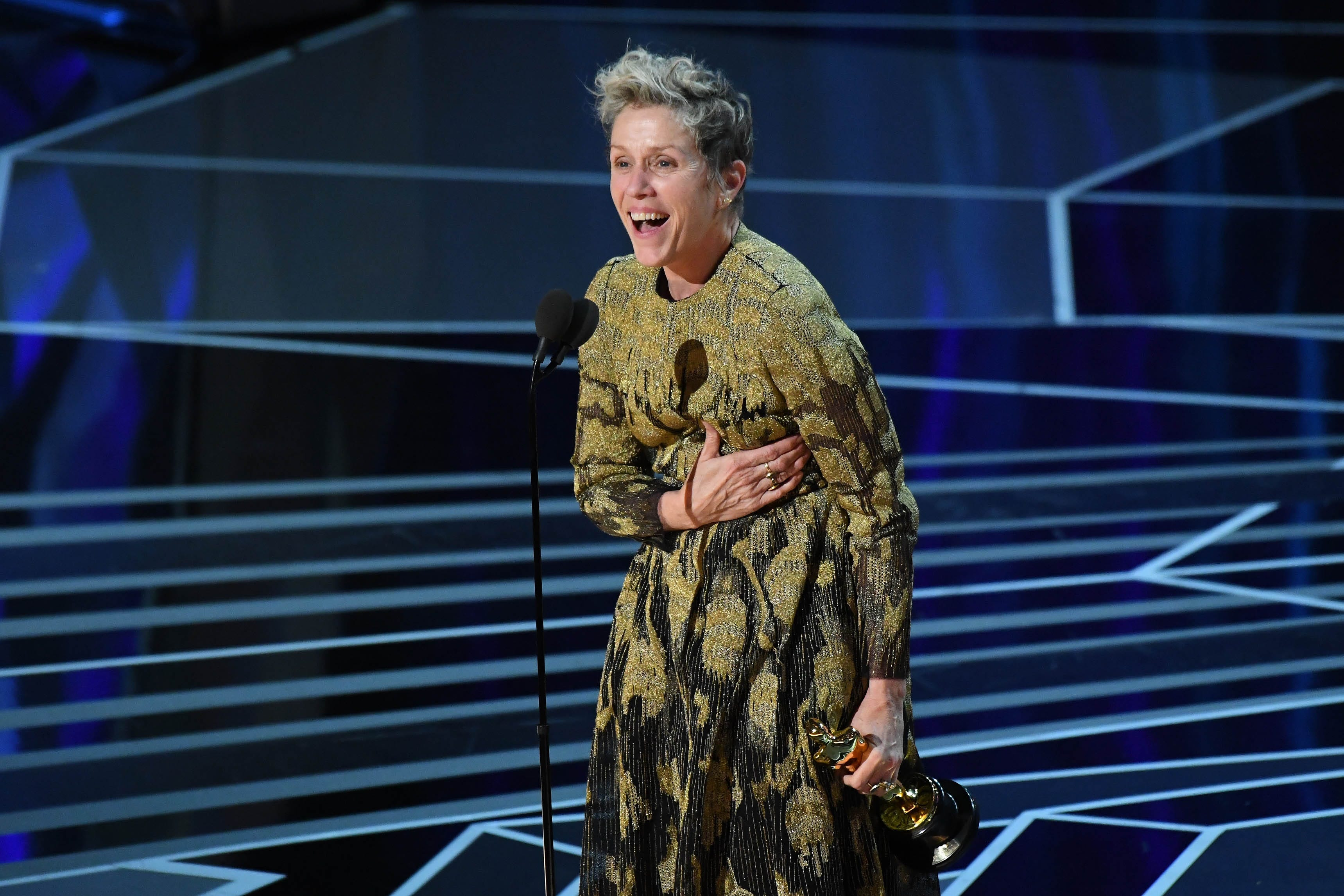 """Frances McDormand won her second best actress Oscar in 2018 for """"Three Billboards Outside Ebbing, Missouri."""