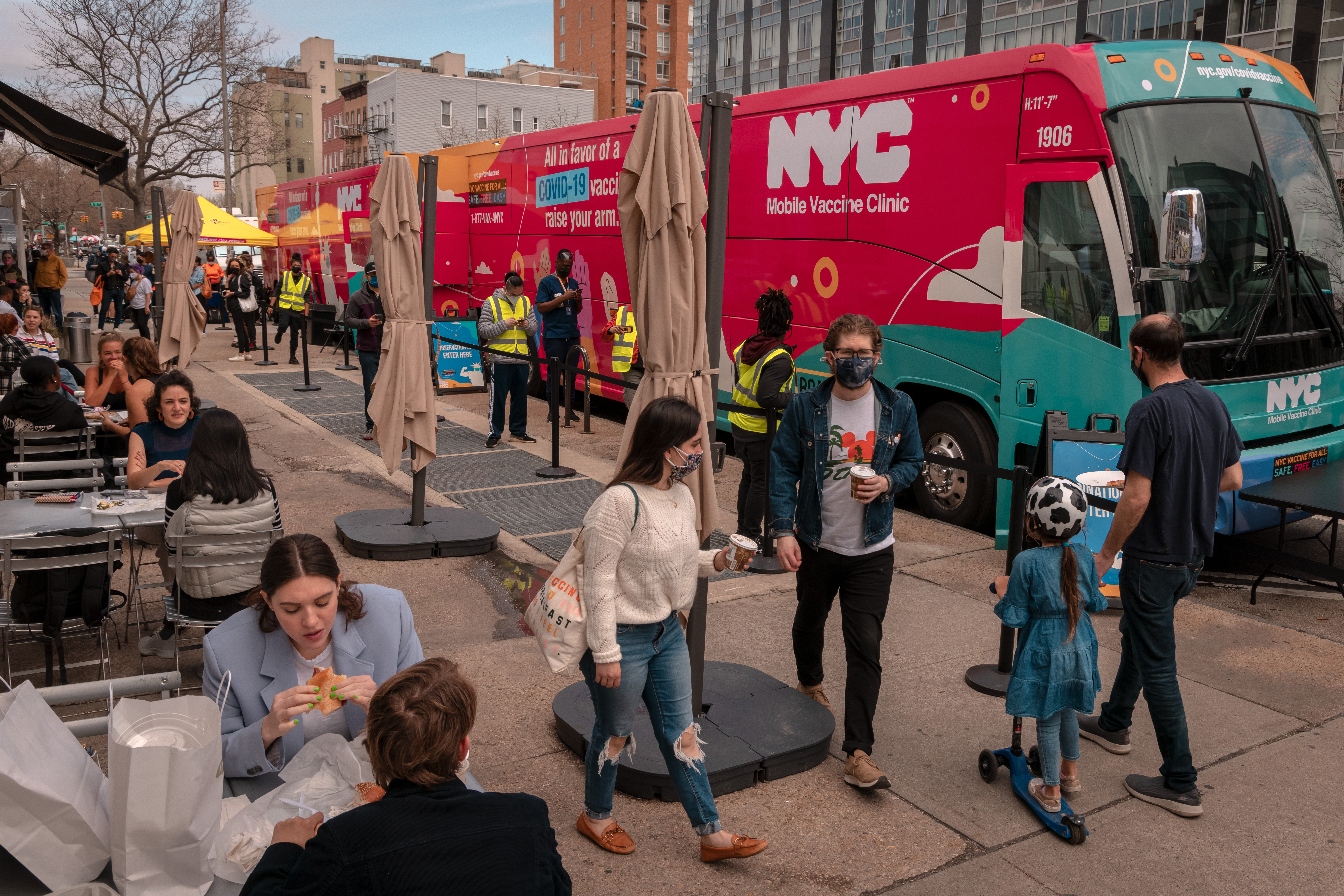 The mobile vaccination clinic outside of Lilia in Williamsburg, Brooklyn
