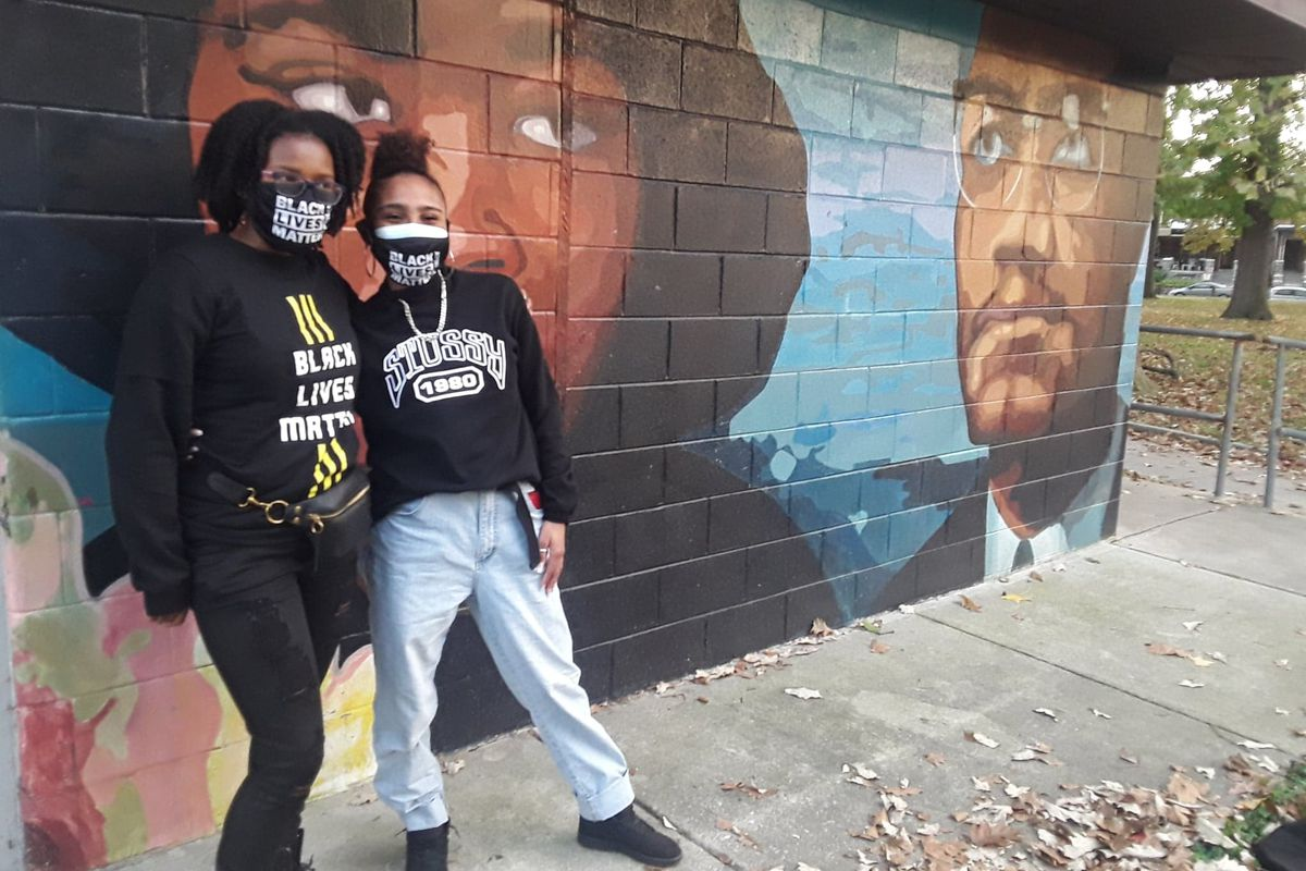 Sheyla Street, left, of Central High School, and Tatiana Roldan of Northeast High School, at Malcolm X Park in West Philadelphia.