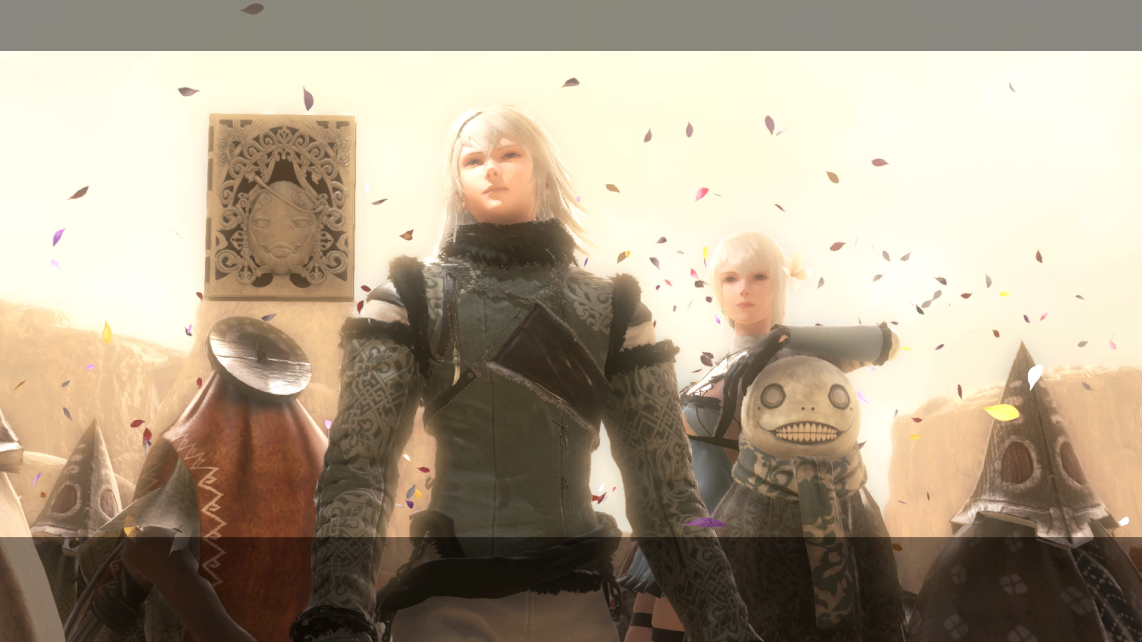 Nier, Kaine, and Emil celebrate together in Nier Replicant.