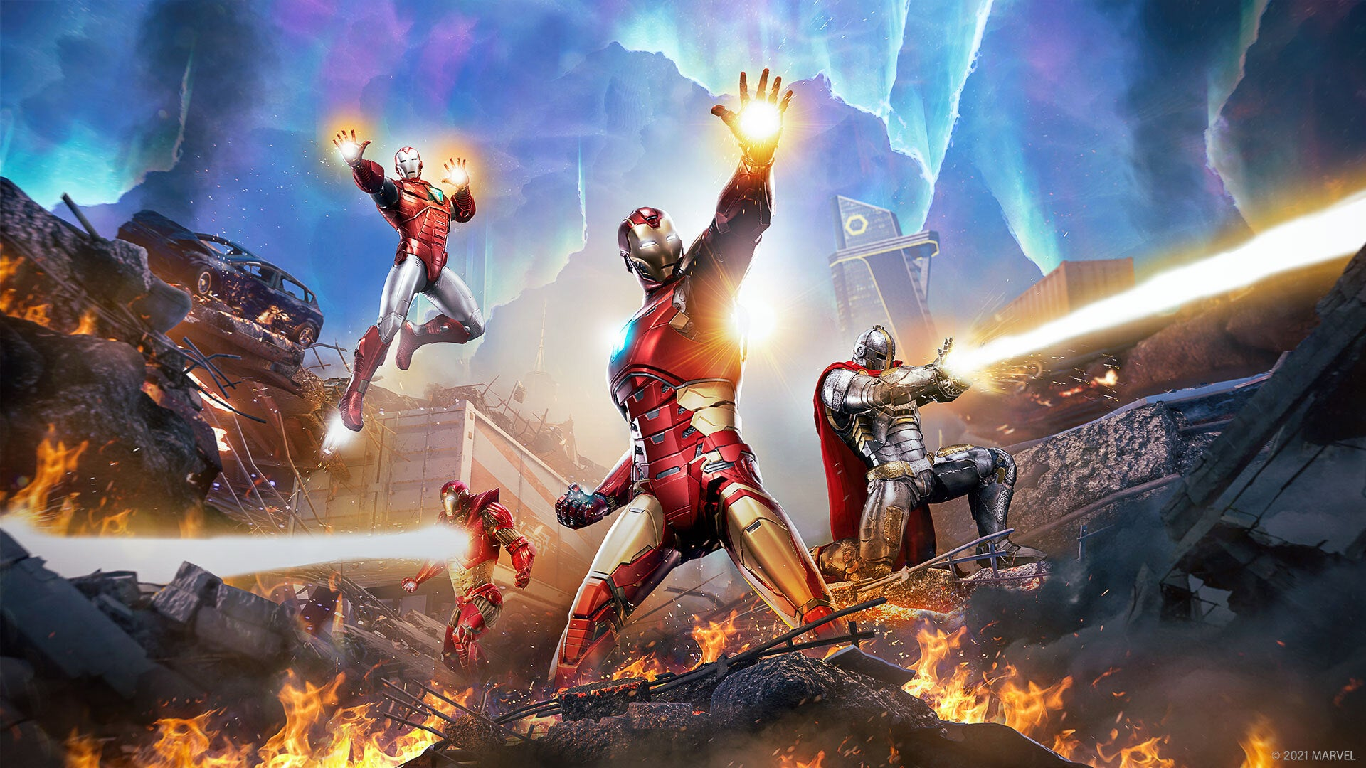 Four different Iron Man heroes fighting alongside each other in Marvel's Avengers