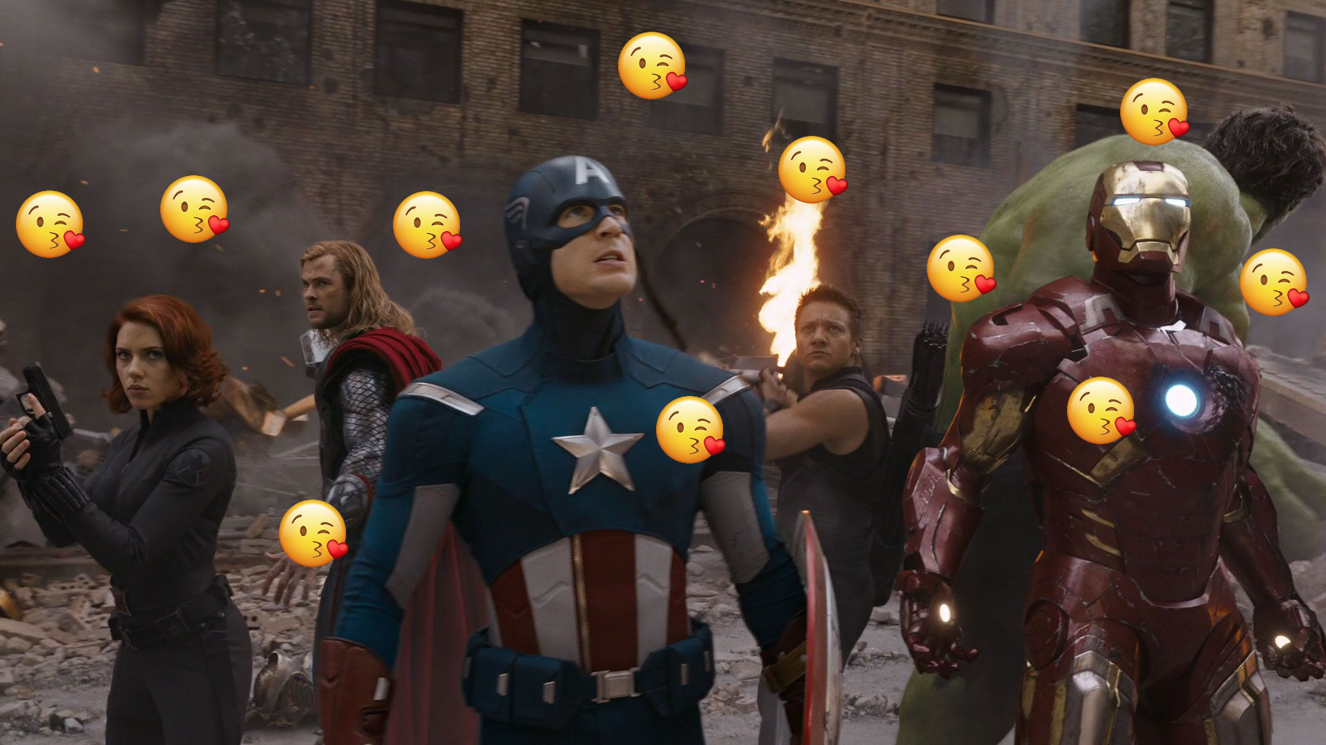 The Avengers are surrounded.....by kiss emoji