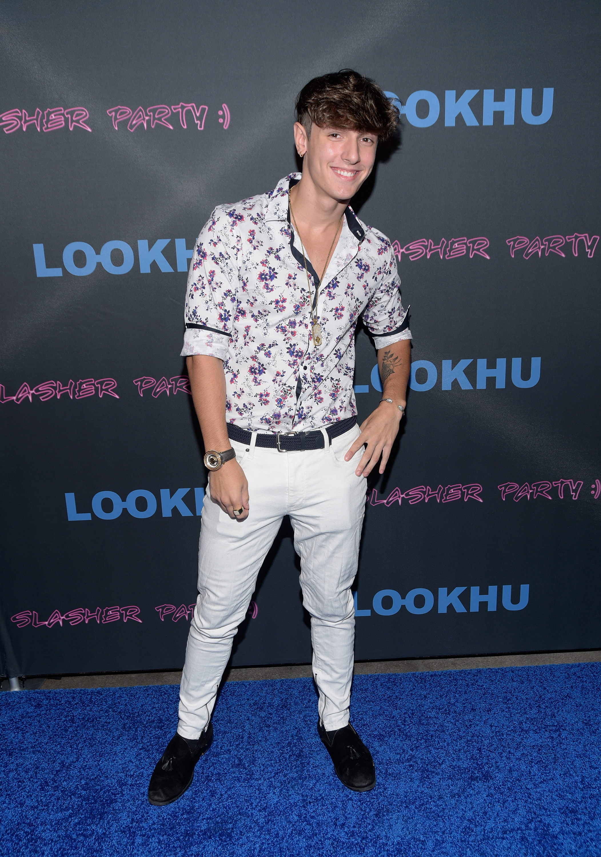 """Influencer Bryce Hall attends the premiere party for LookHu's """"Slasher Party"""" at ArcLight Hollywood on September 18, 2018."""