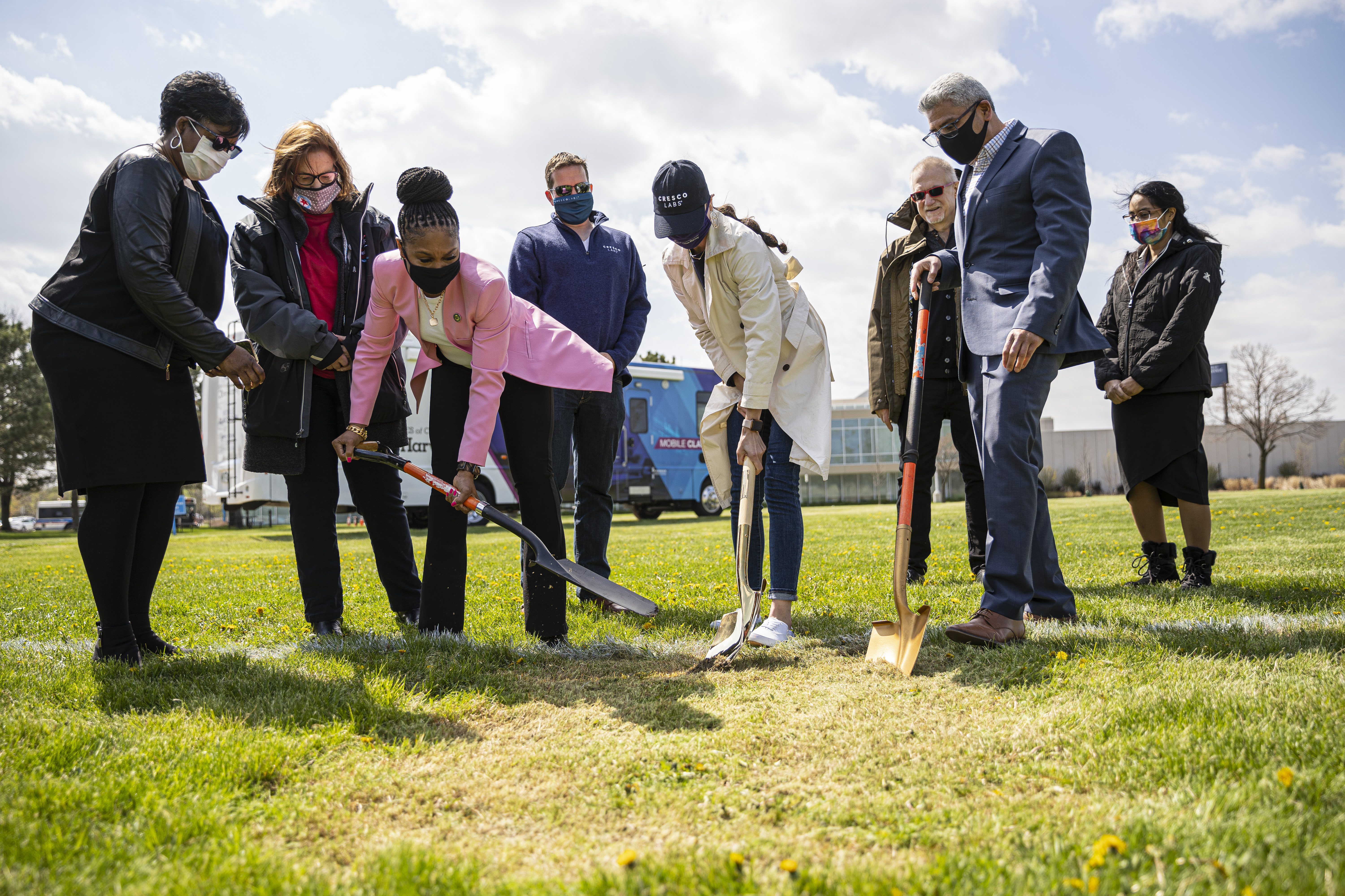 Faculty and local leaders break ground on Thursday, April 22, 2021 on the new location of the future hemp greenhouse at Olive-Harvey College for its cannabis education program.