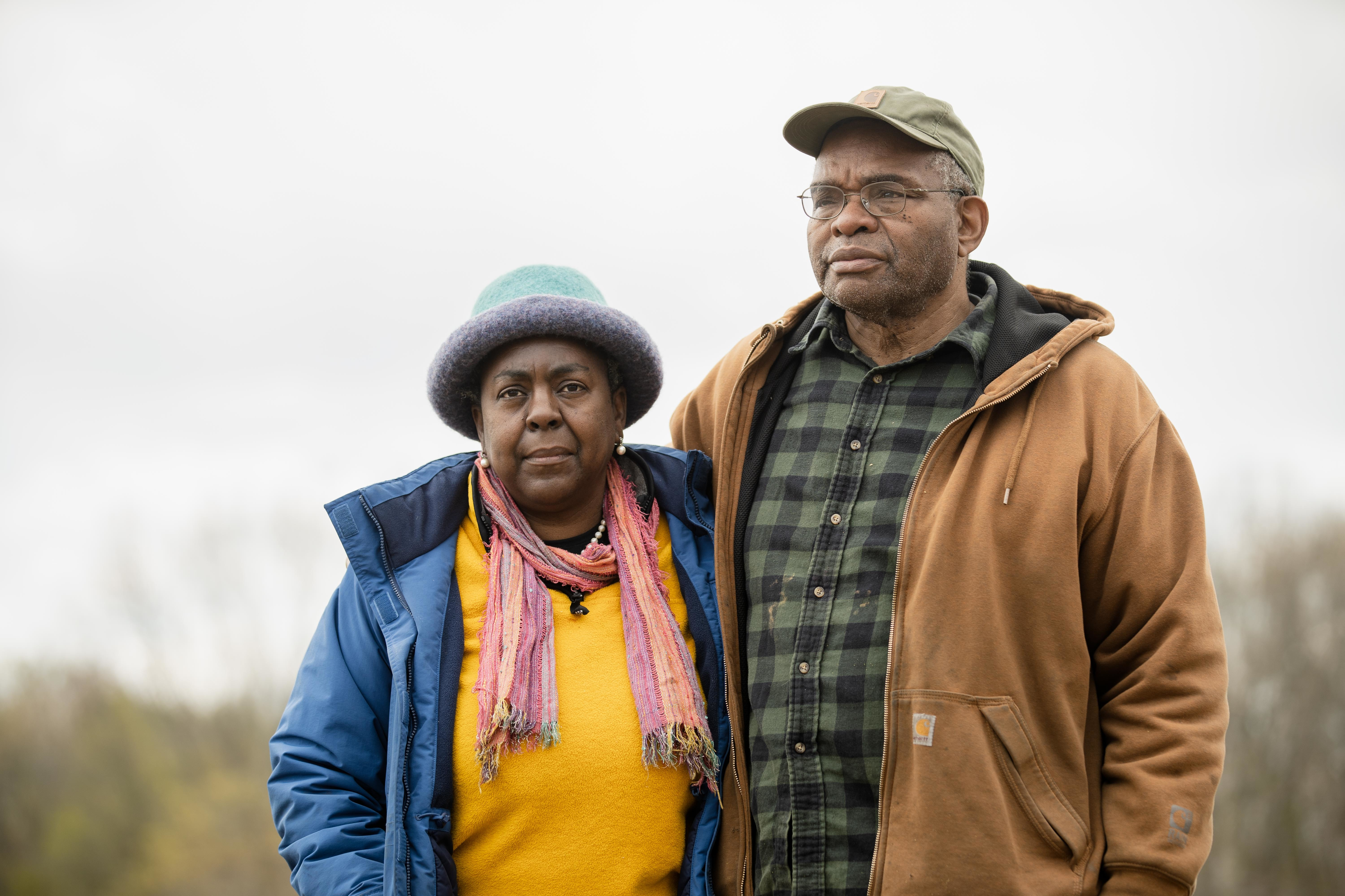 """""""People here love the earth,"""" says Dr. Jifunza Wright-Carter (left), who farms 45 acres in Pembroke Township with her husband Fred Carter. """"This natural gas pipeline has nothing to do with the wellbeing of our community."""""""