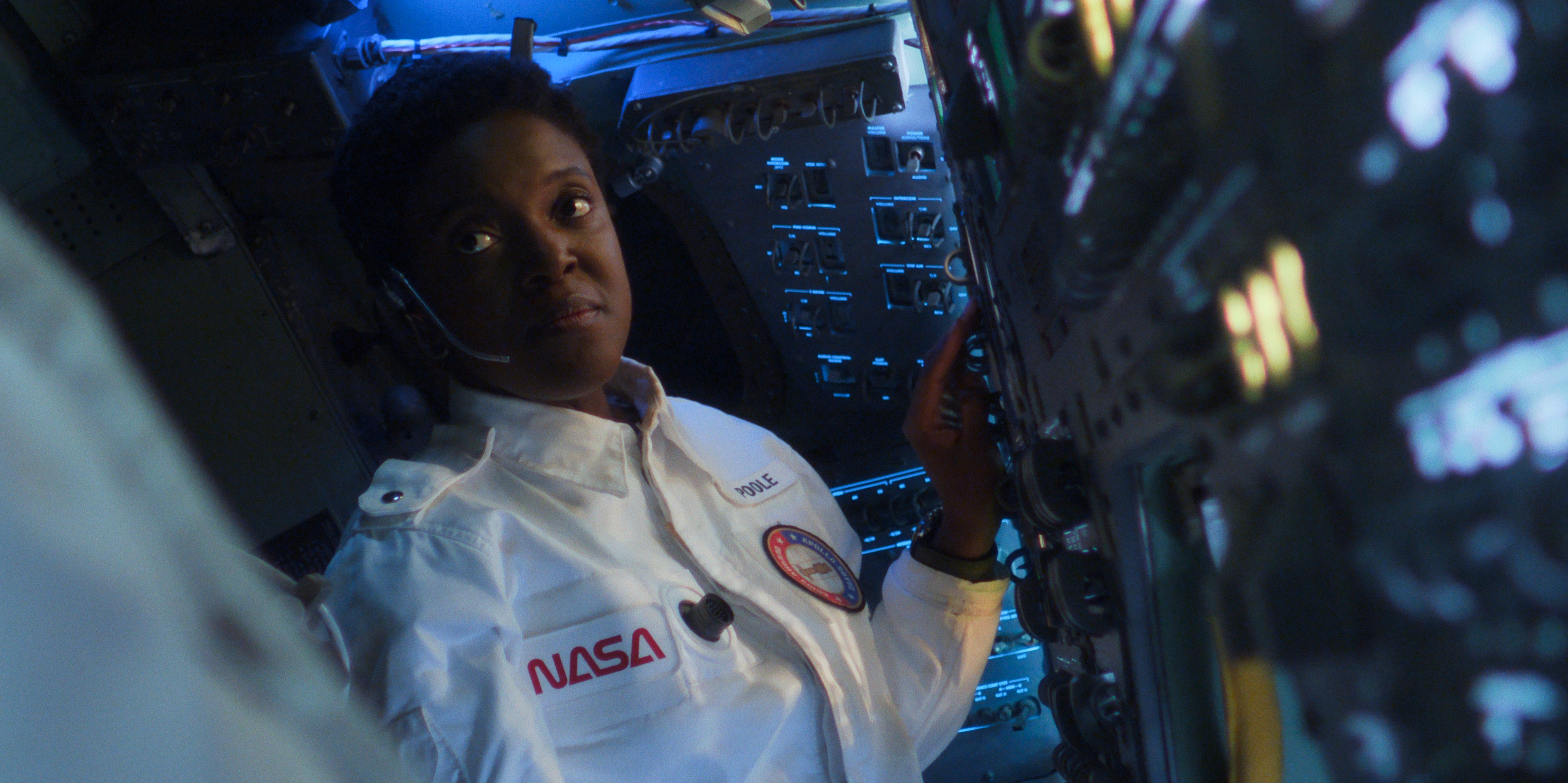Danielle Poole, played by Krys Marshall, captains a space shuttle.