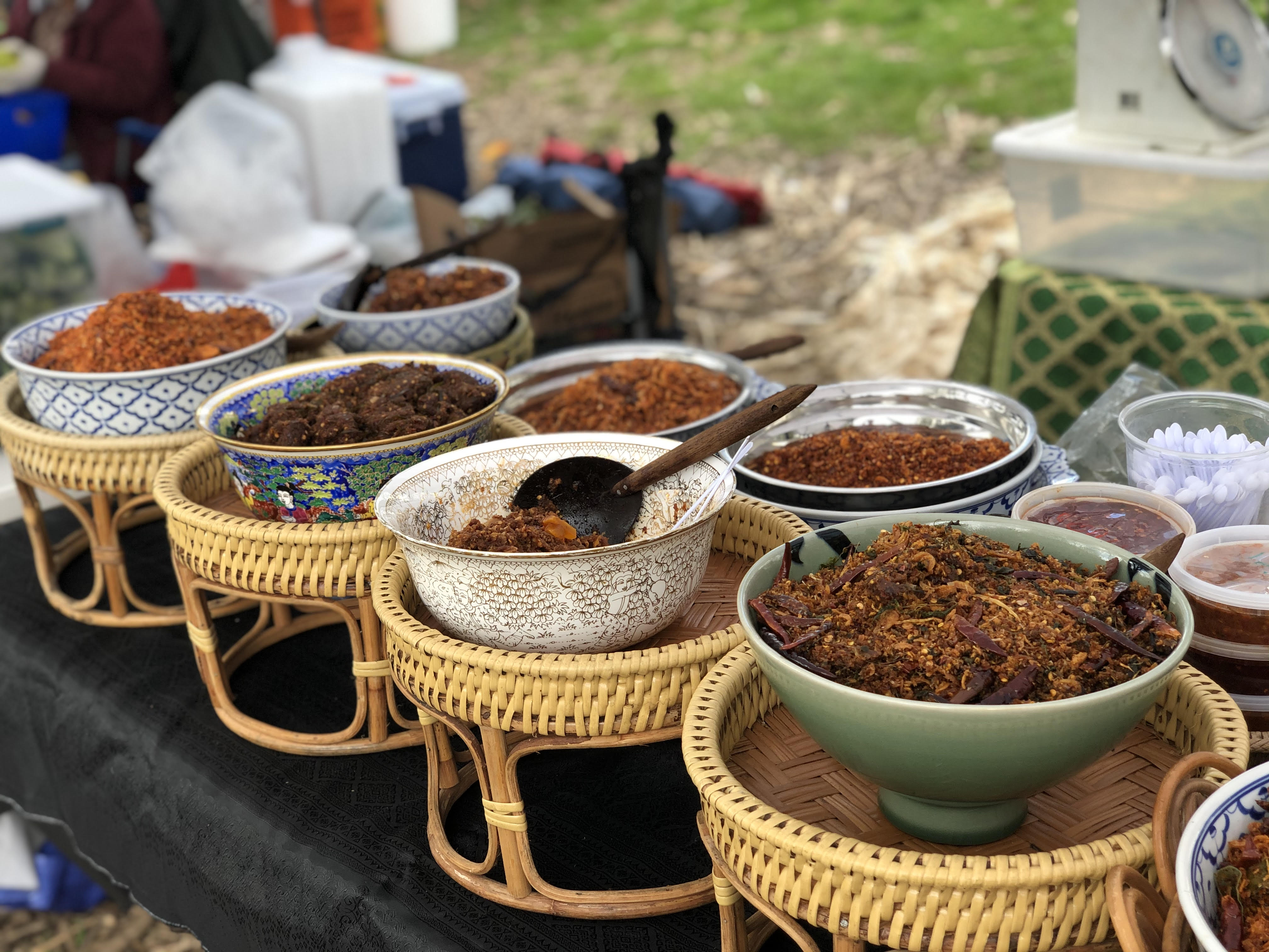 dishes of food set up at FDR park