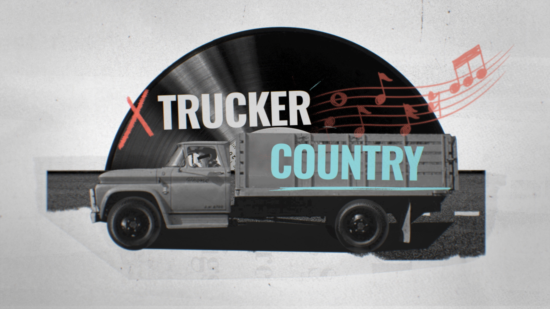Truck driver against a vinyl record spinning backdrop