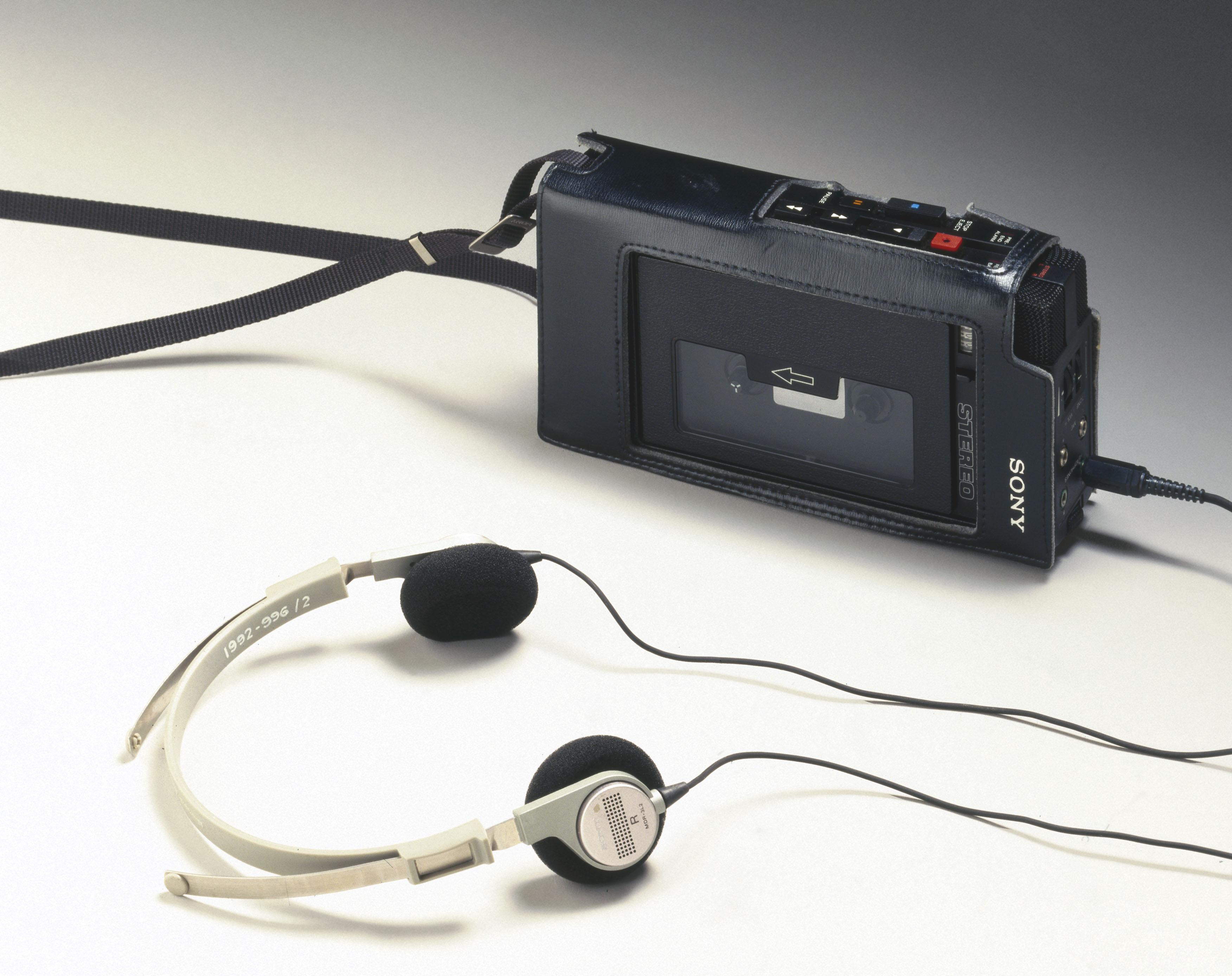 Sony Walkman with headphones, c 1980.
