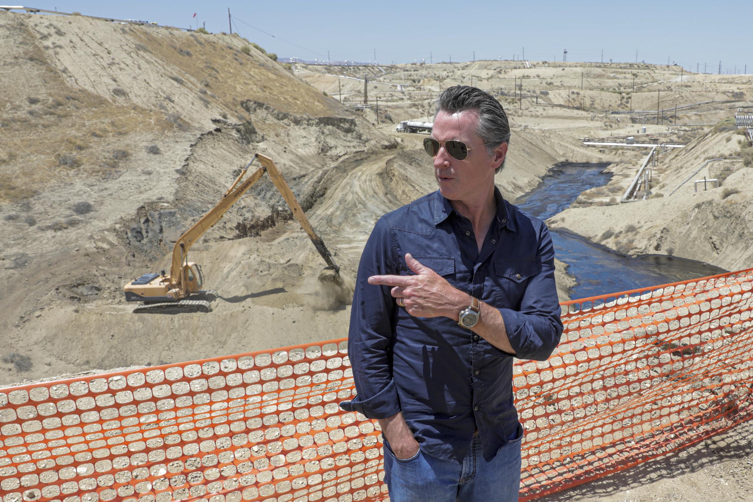 Gavin Newsom visits an oil field in California