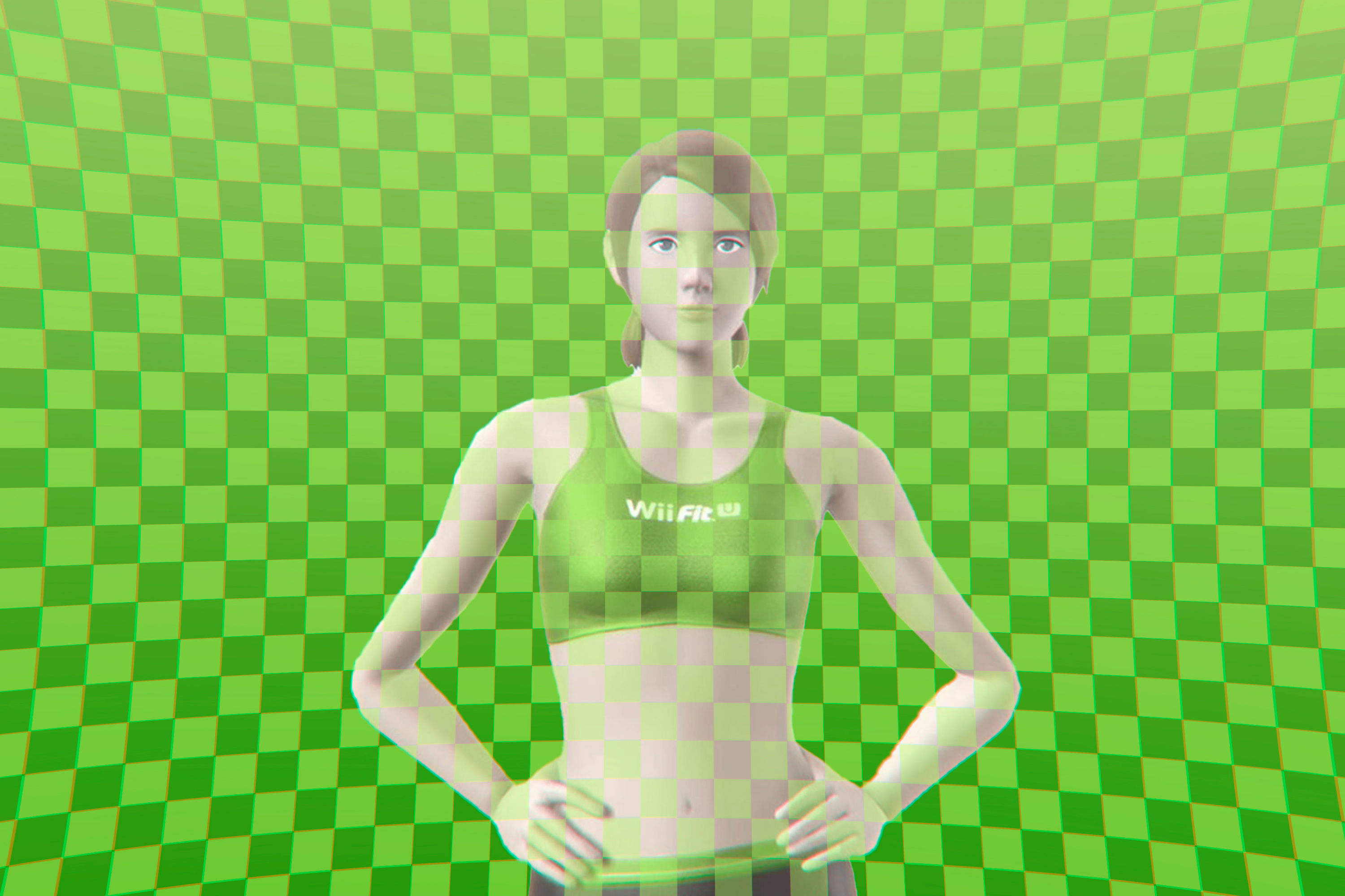 A female video game character wearing fitness clothing from Wii Fit stands against a green checkerboard patterned background