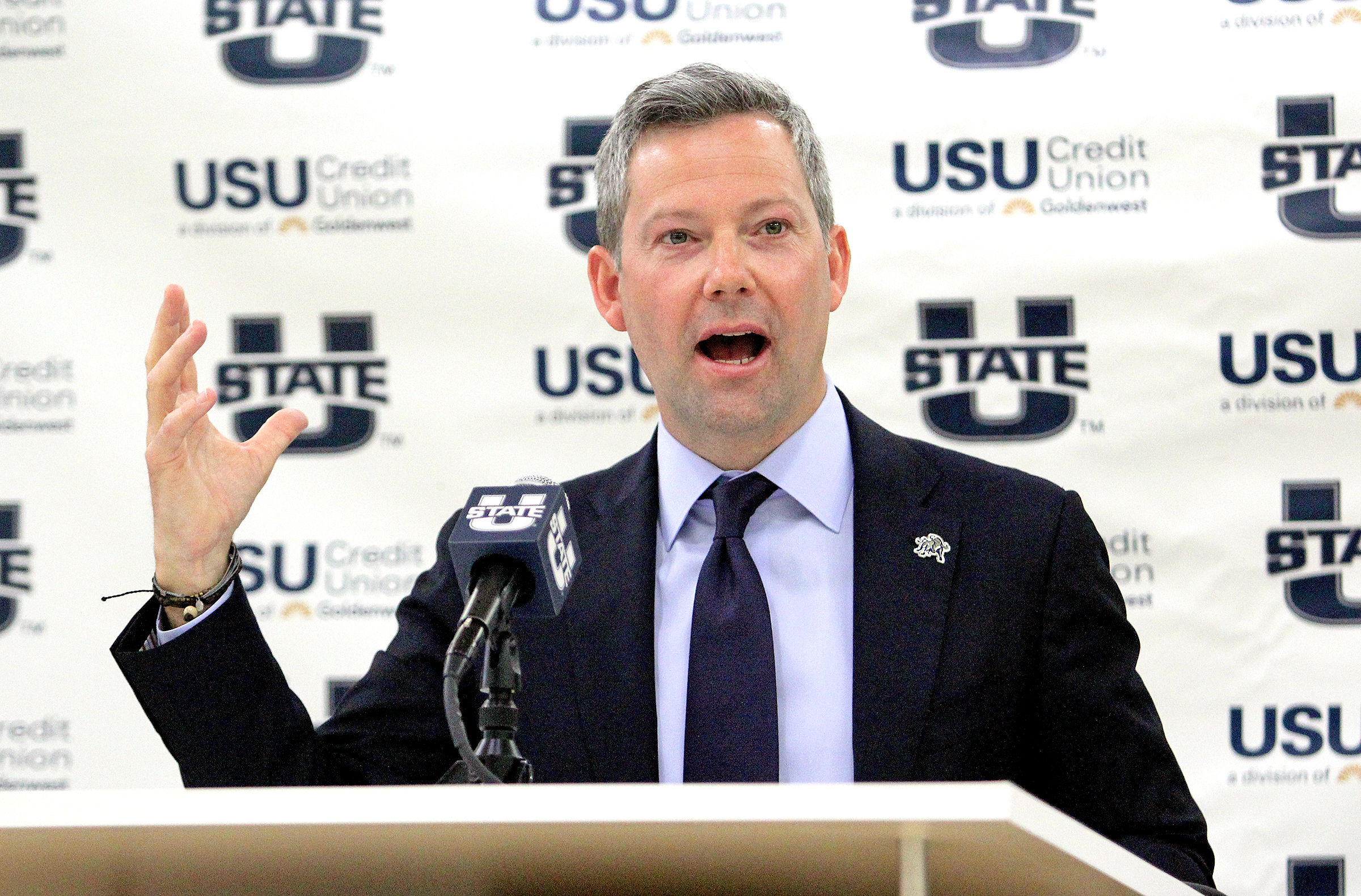 New Utah State men's basketball coach Ryan Odom speaks during a press conference Wednesday, April 7, 2021, at the Wayne Estes Center in Logan.