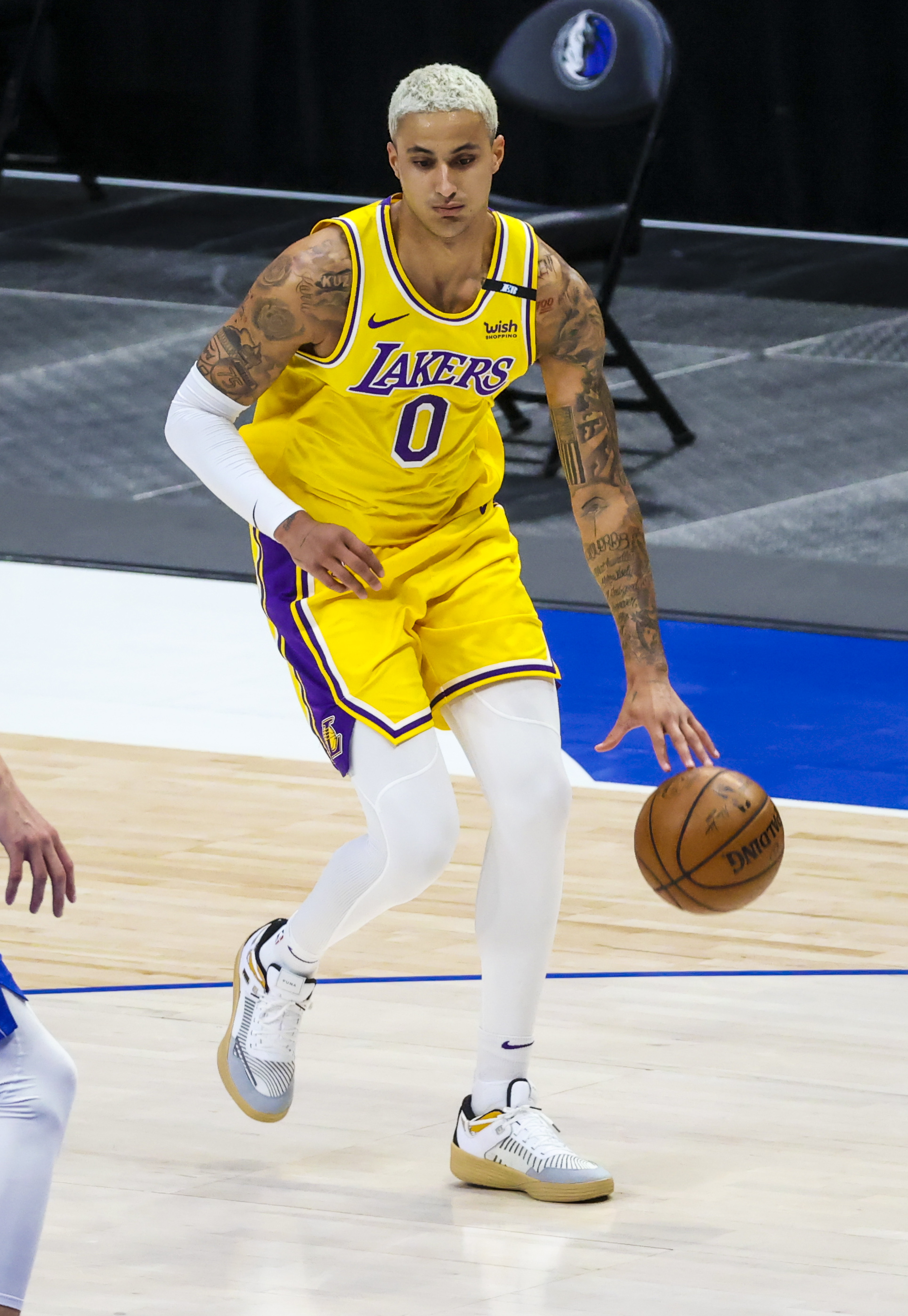 Los Angeles Lakers forward Kyle Kuzma in action during the game against the Dallas Mavericks at American Airlines Center.