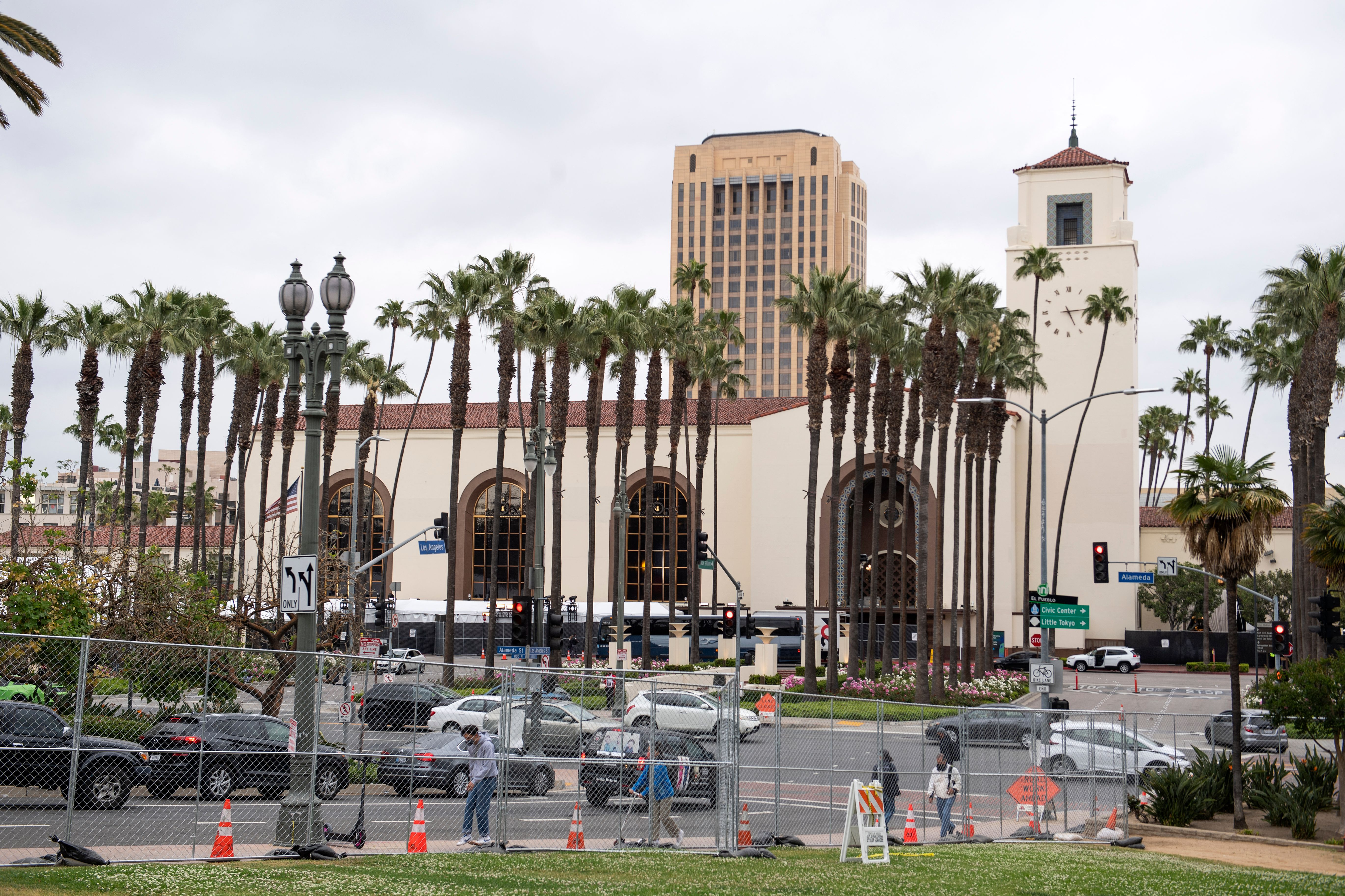 A general view shows Union Station during preparations for the 93rd Academy Awards in Los Angeles, California on April 23, 2021.