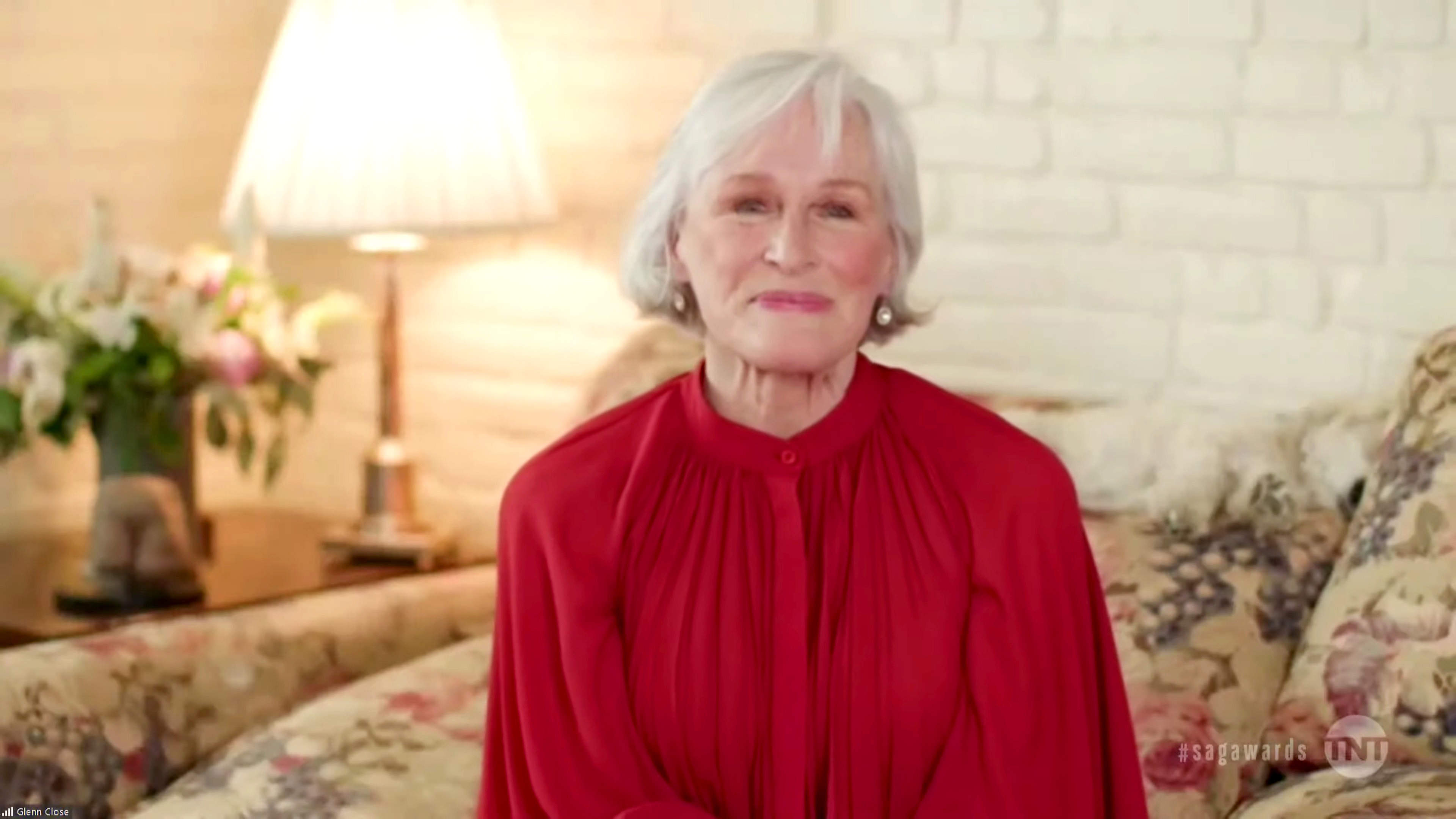 In this screengrab released on April 4, 2021, Glenn Close speaks during the 27th Annual Screen Actors Guild Awards on April 04, 2021.