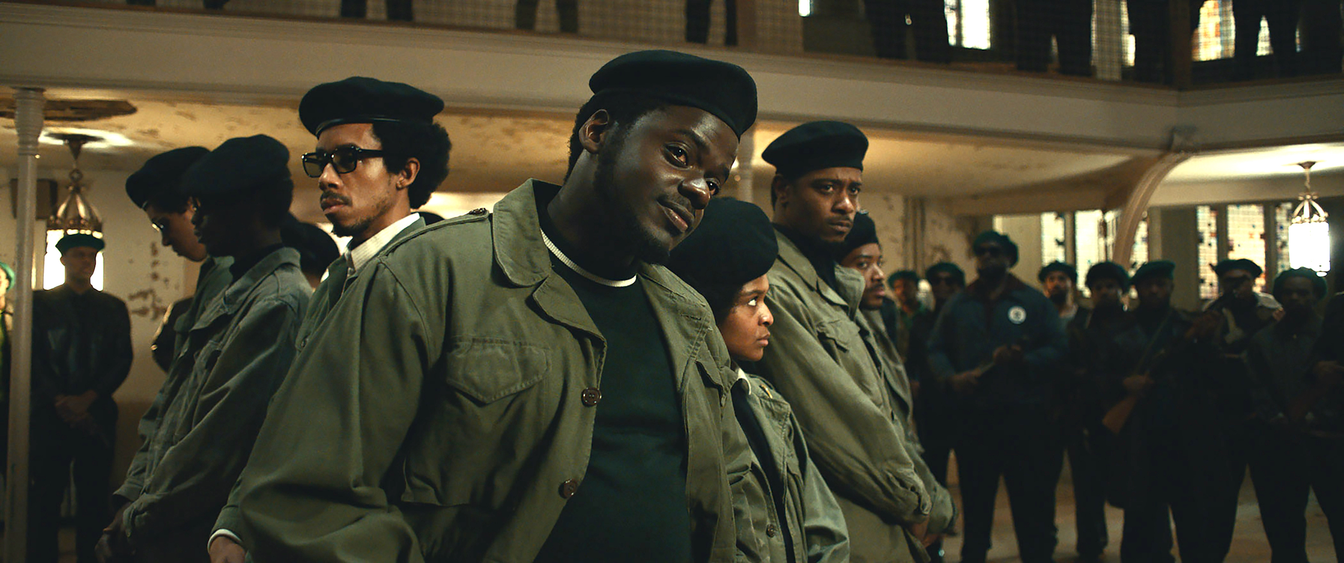 Daniel Kaluuya in front of his posse in Judas and the Black Messiah